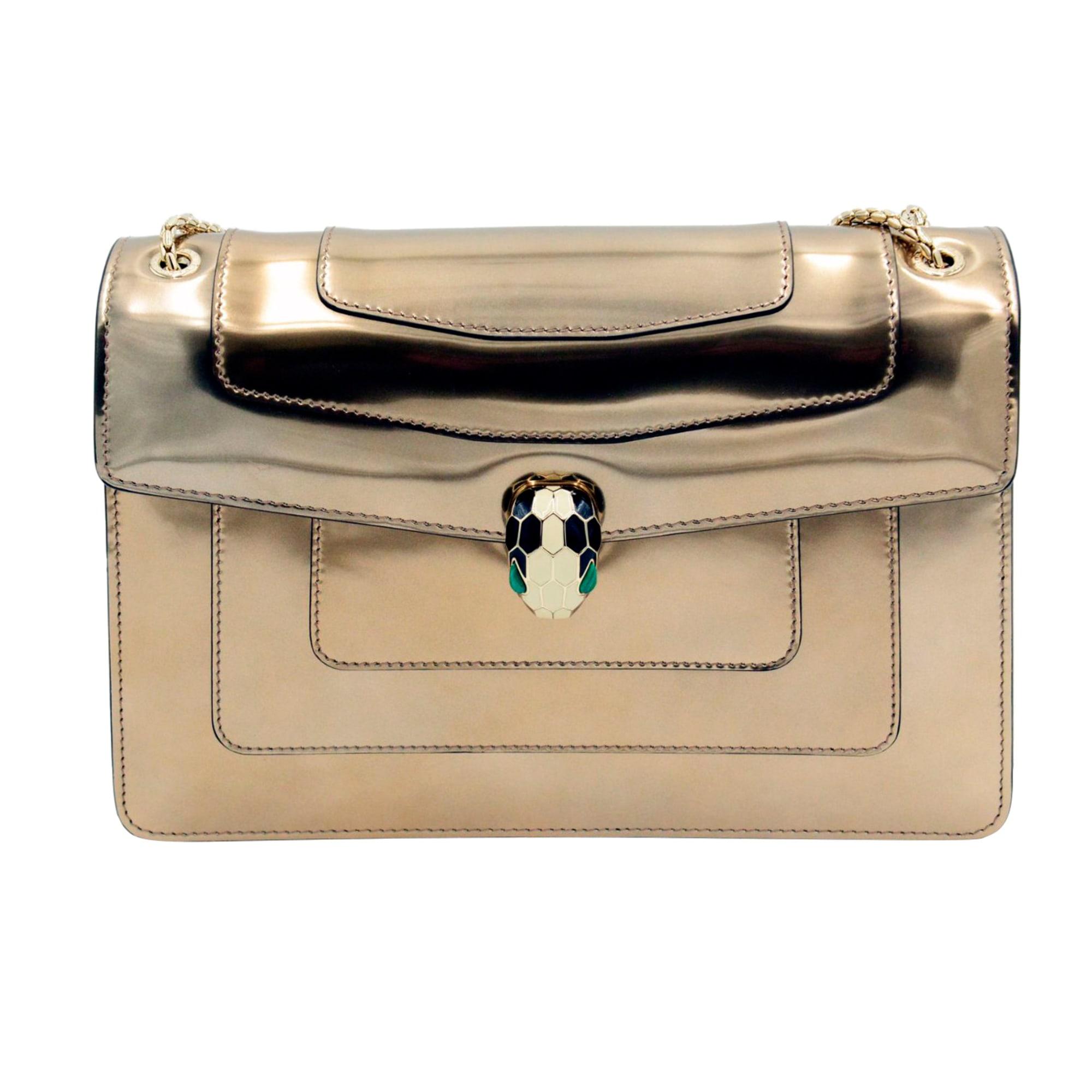 Leather Shoulder Bag BULGARI Golden, bronze, copper