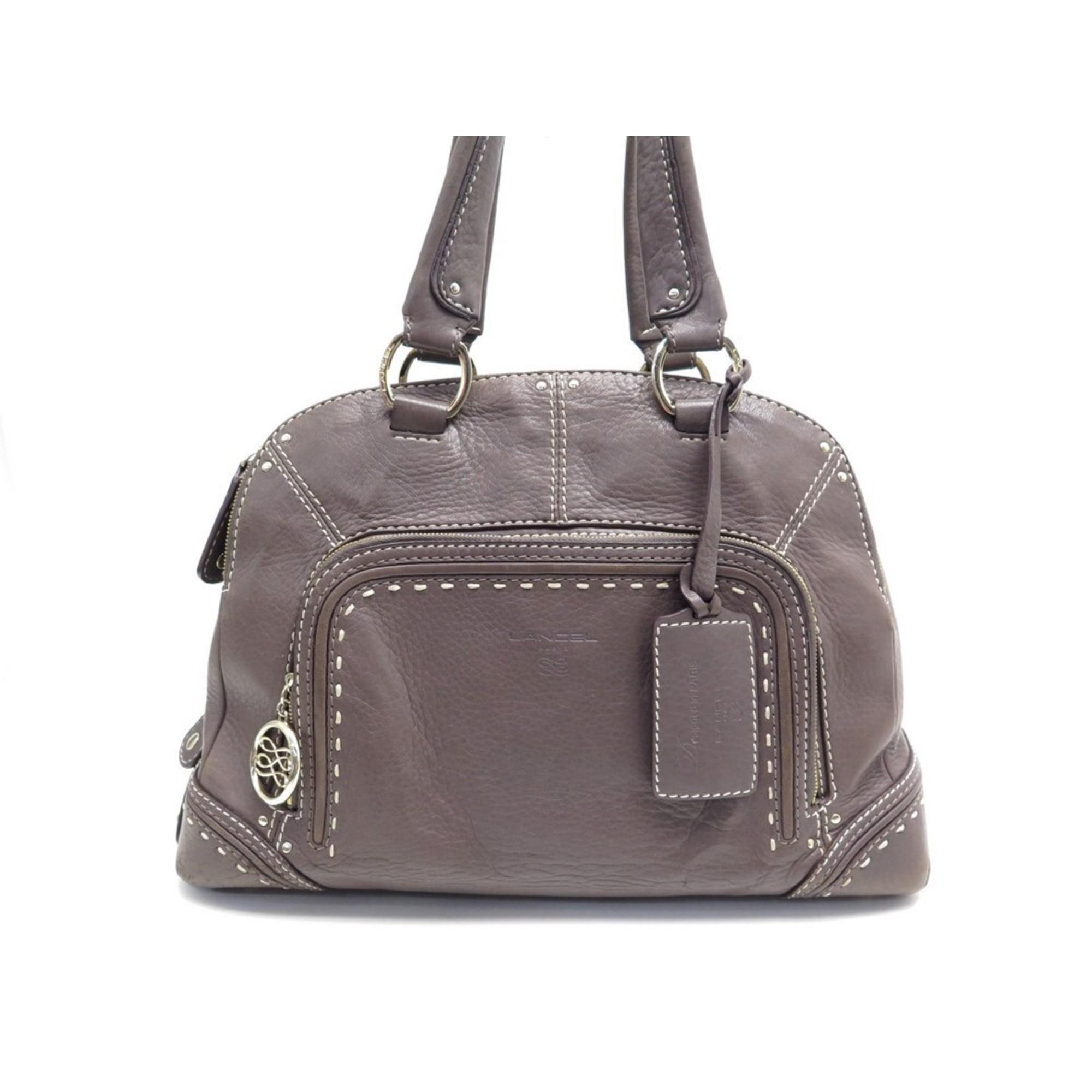 Leather Handbag LANCEL taupe
