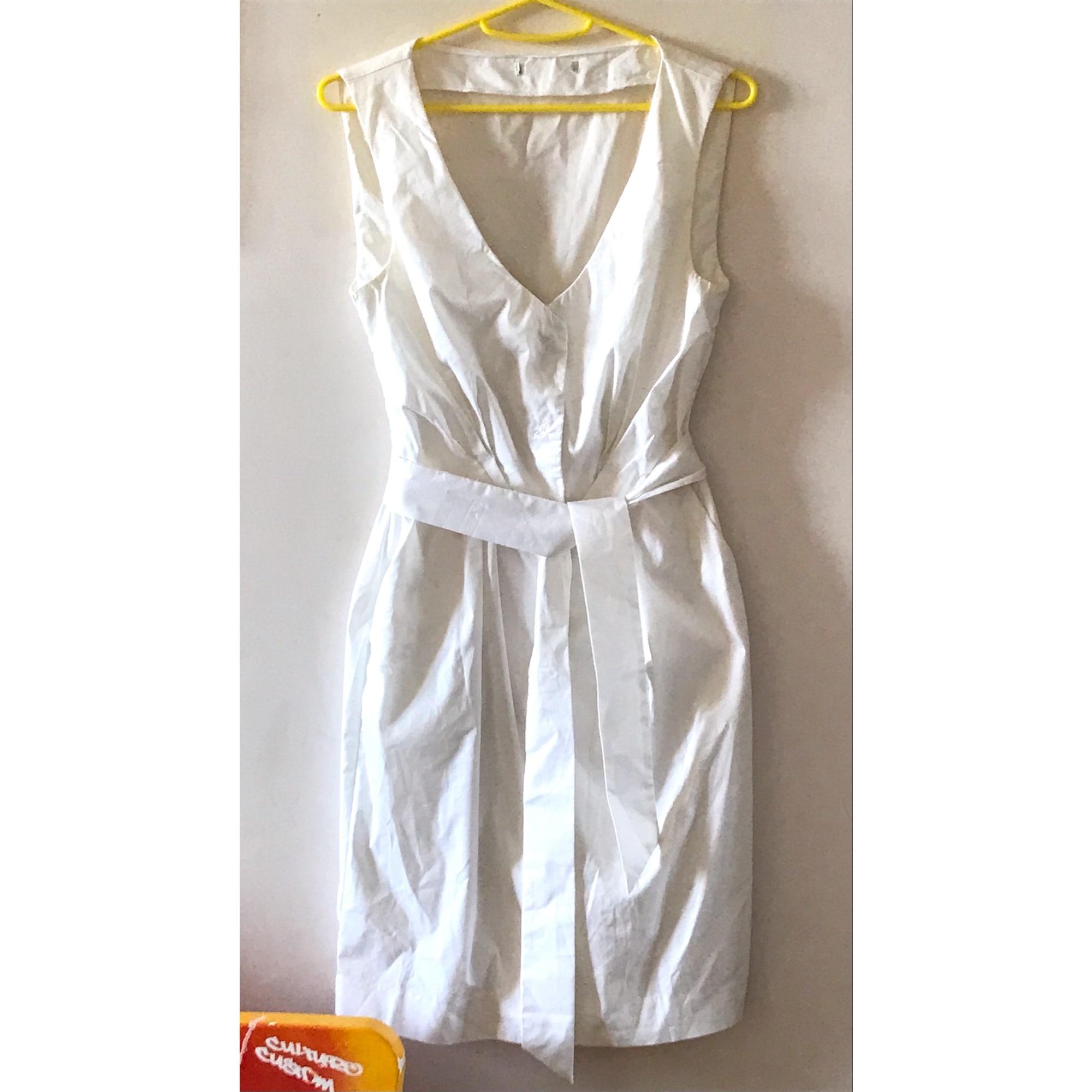 Robe courte MANGO Blanc, blanc cassé, écru