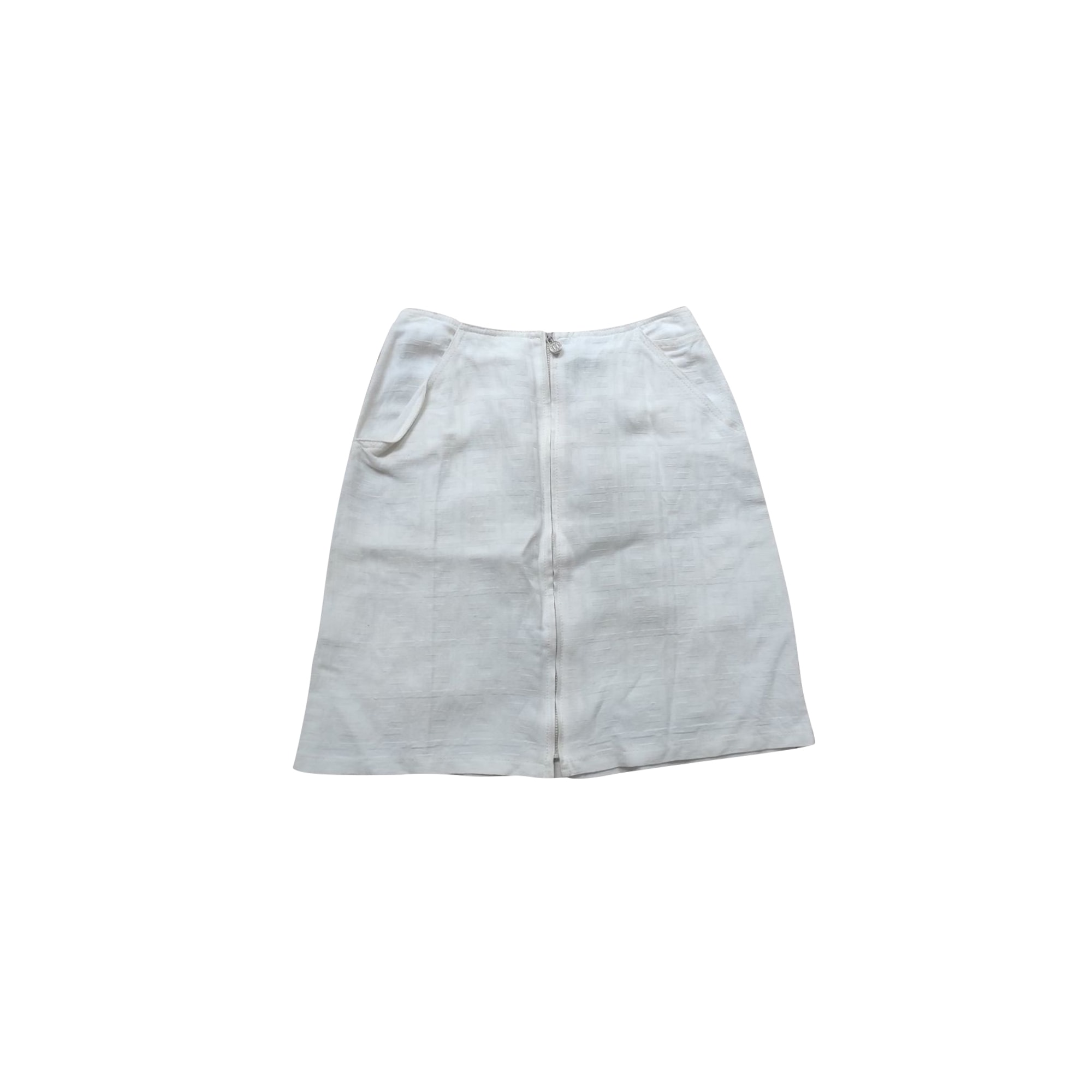 Jupe courte FENDI Blanc, blanc cassé, écru