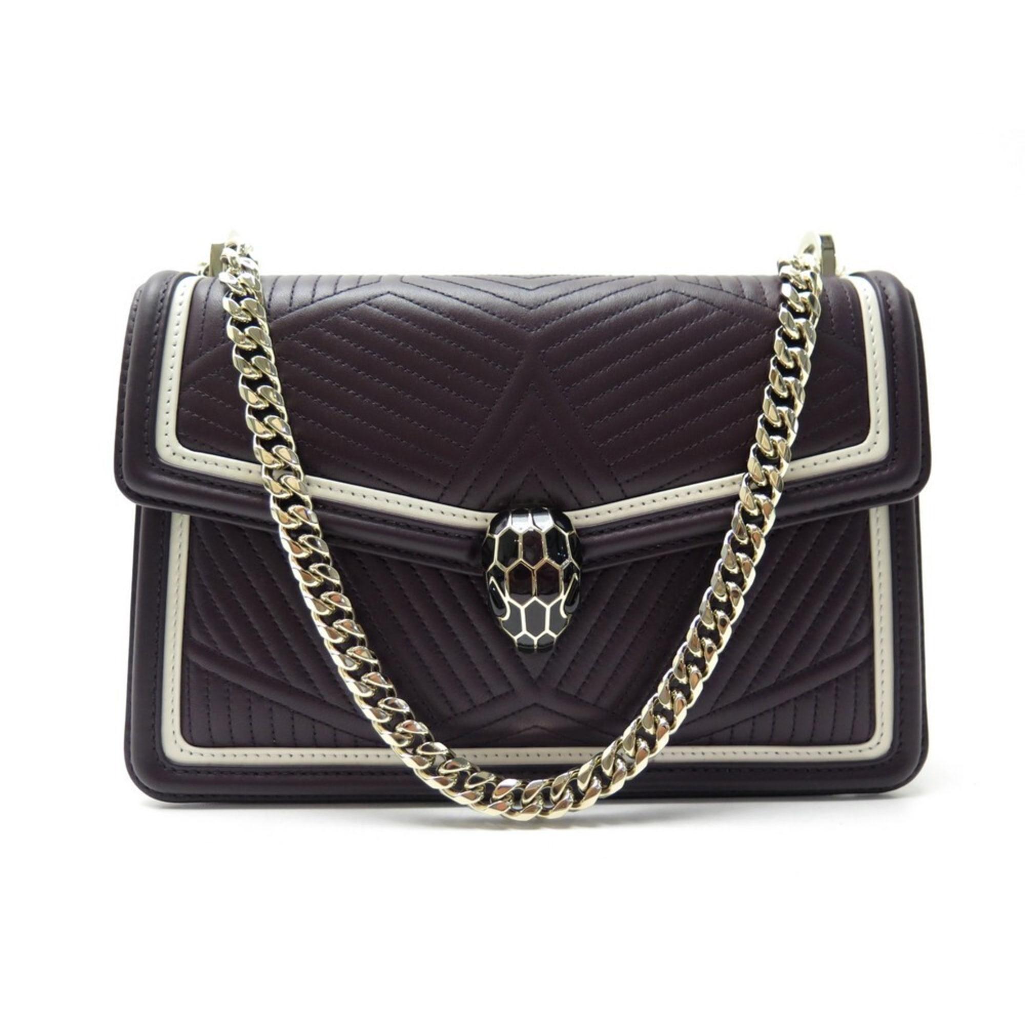 Leather Handbag BULGARI Aubergine