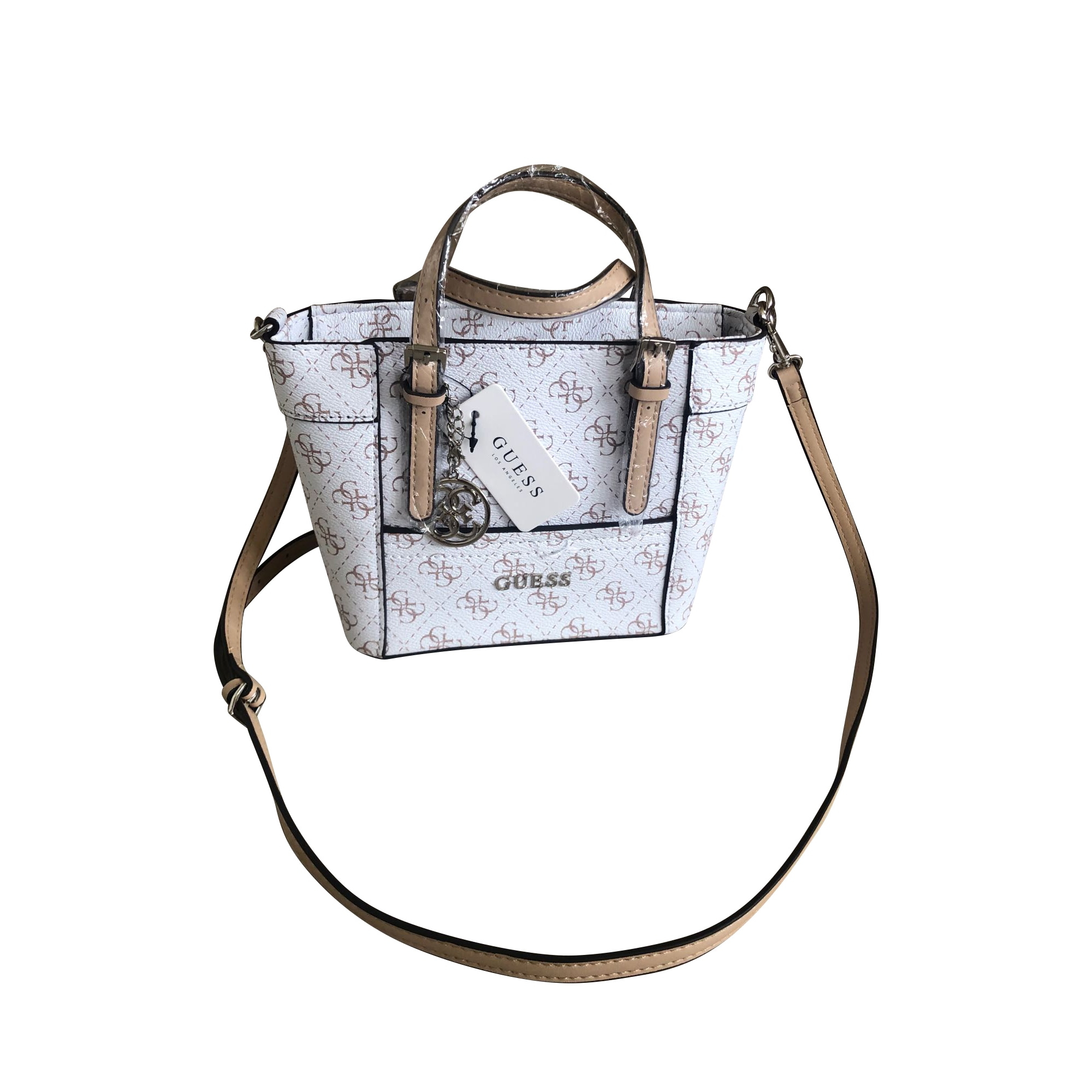 Leather Shoulder Bag GUESS White, off-white, ecru