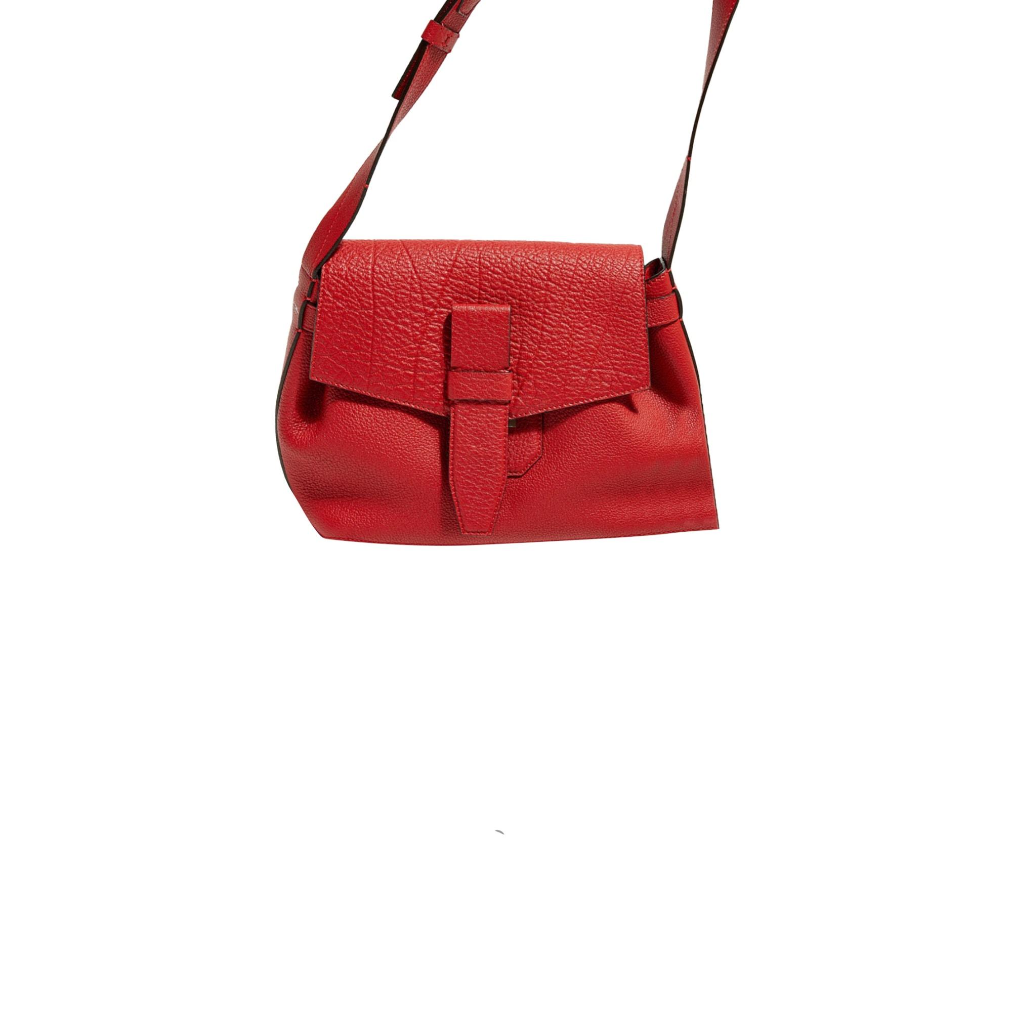 Leather Shoulder Bag LANCEL Charlie Red, burgundy