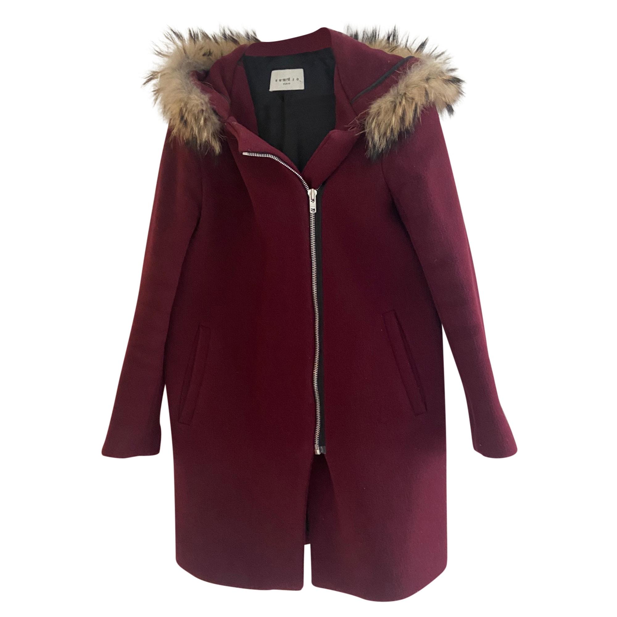 Manteau SANDRO Rouge, bordeaux