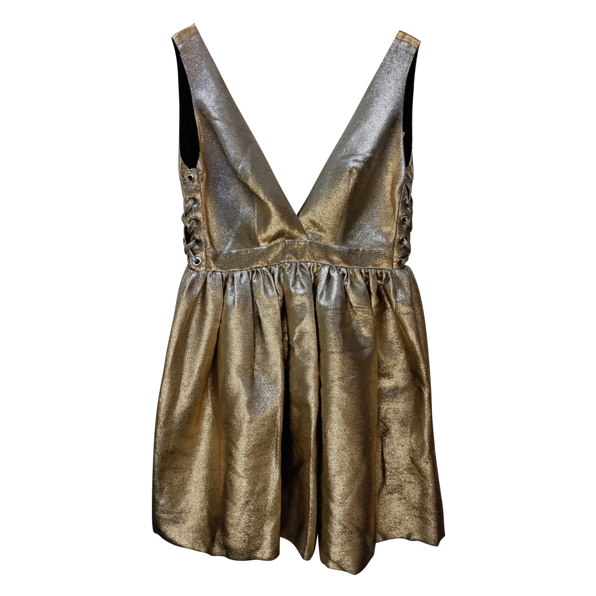Robe courte SANDRO Doré, bronze, cuivre