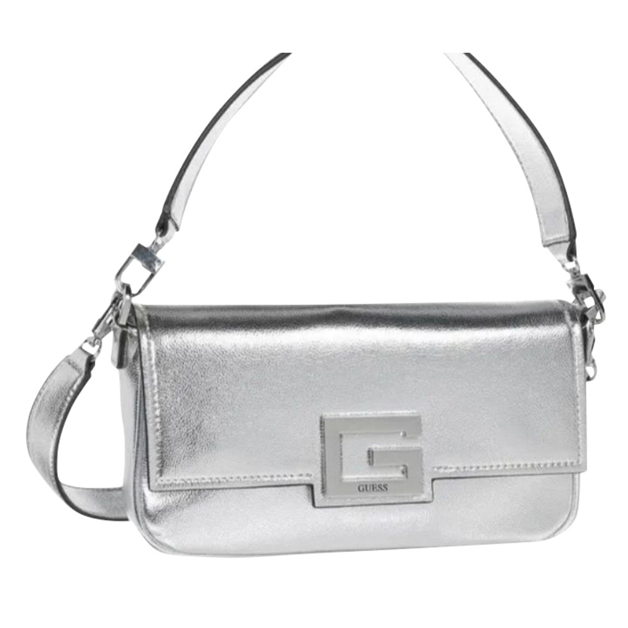 Leather Shoulder Bag GUESS Silver