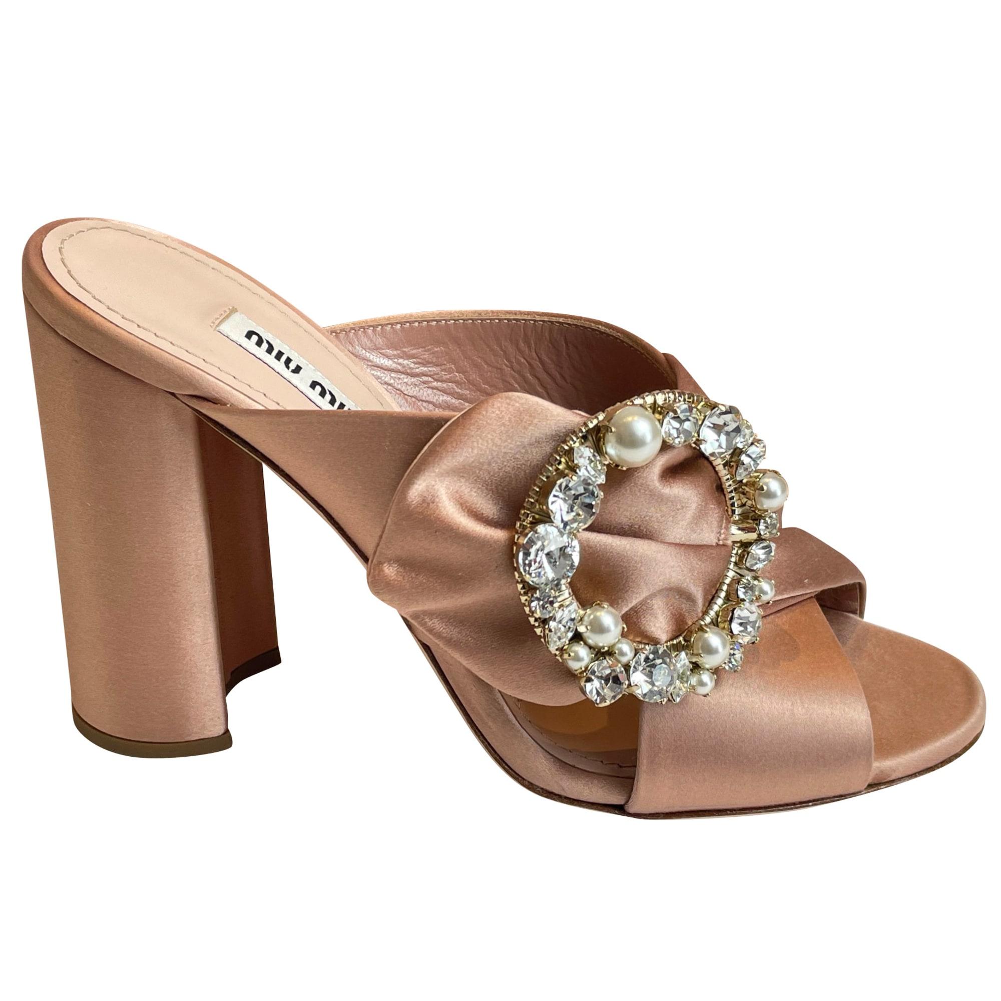 Sandales à talons MIU MIU Rose, fuschia, vieux rose