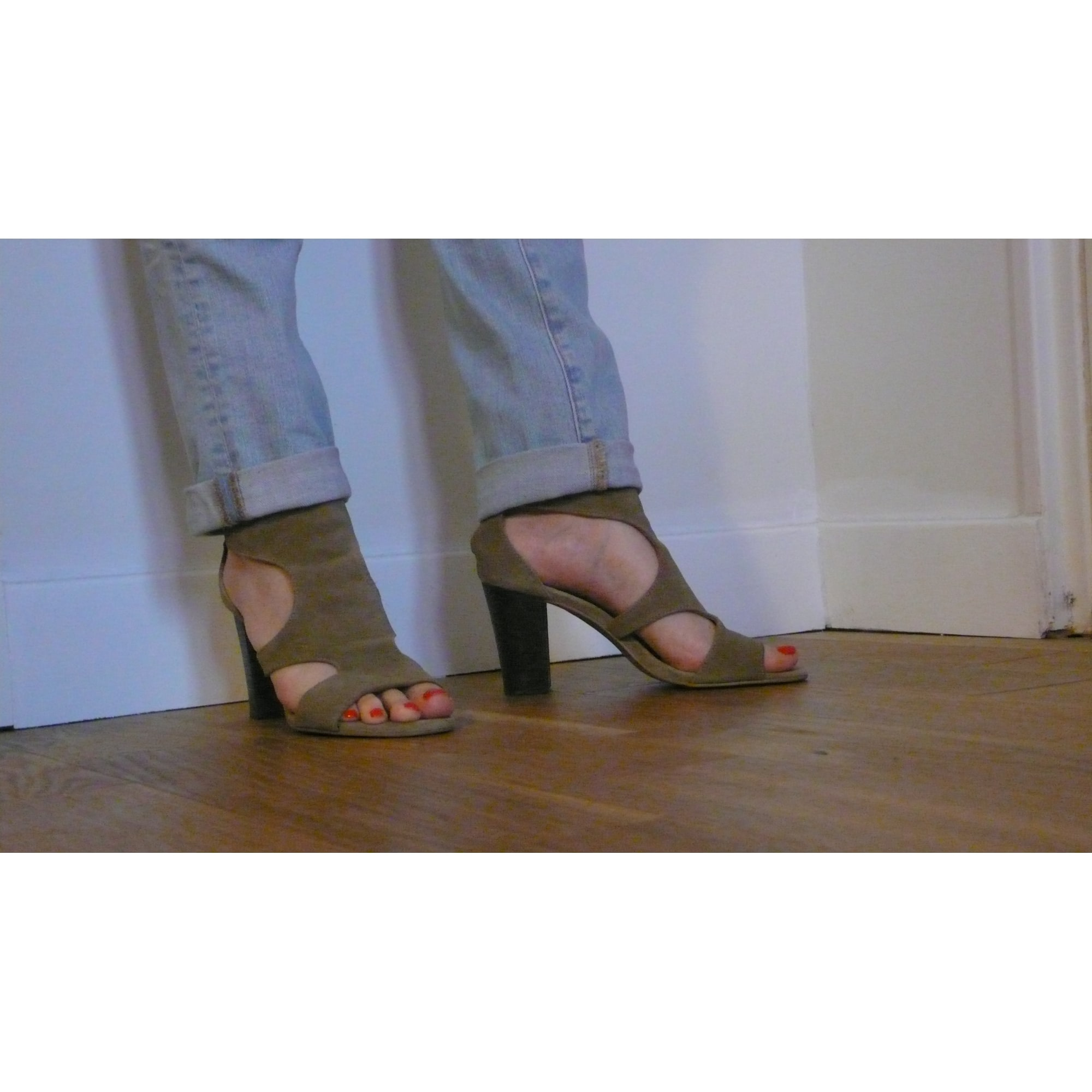 Sandales à talons ZARA Beige, camel