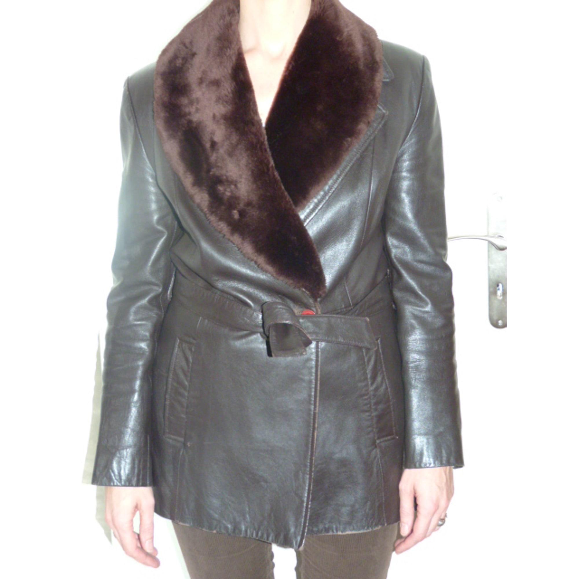 Manteau en cuir MANGO Marron