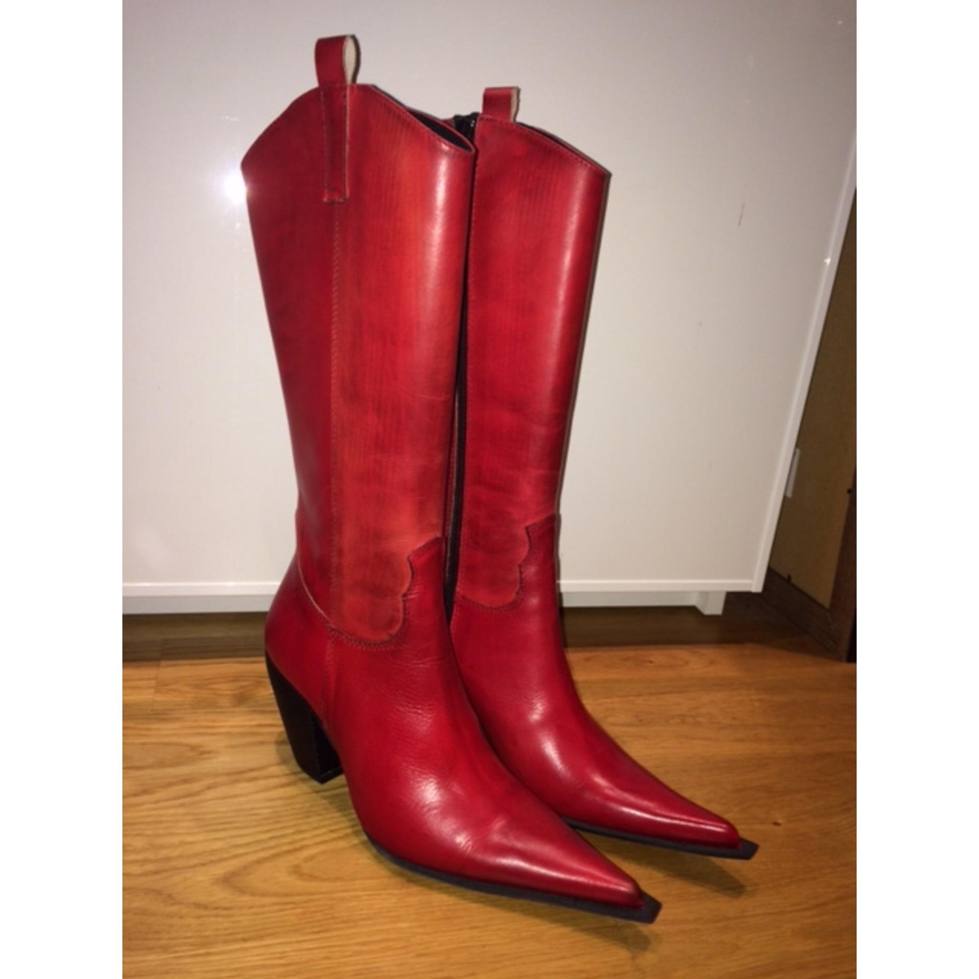 bottes cuir rouge san marina
