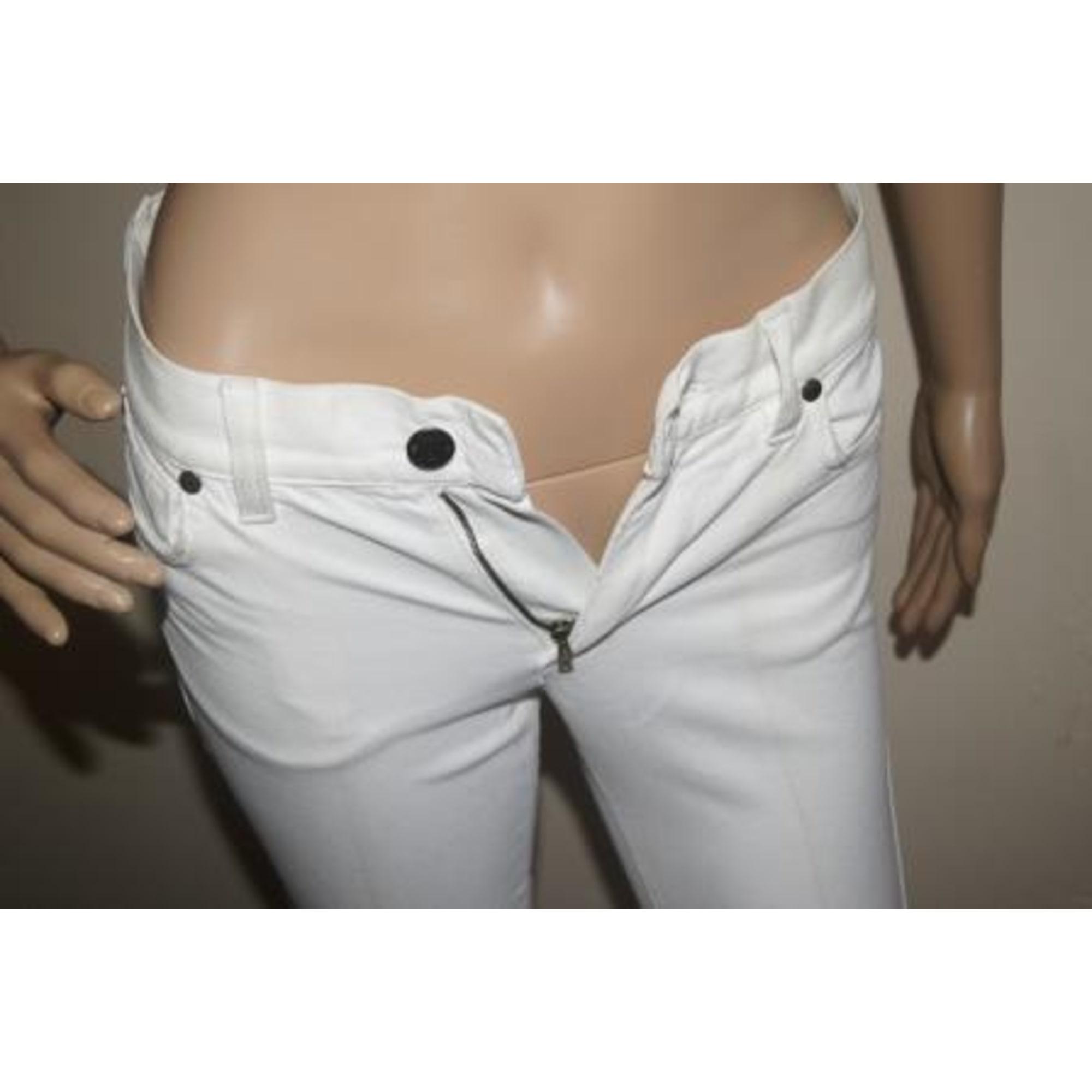 Jeans évasé, boot-cut YVES SAINT LAURENT Blanc, blanc cassé, écru