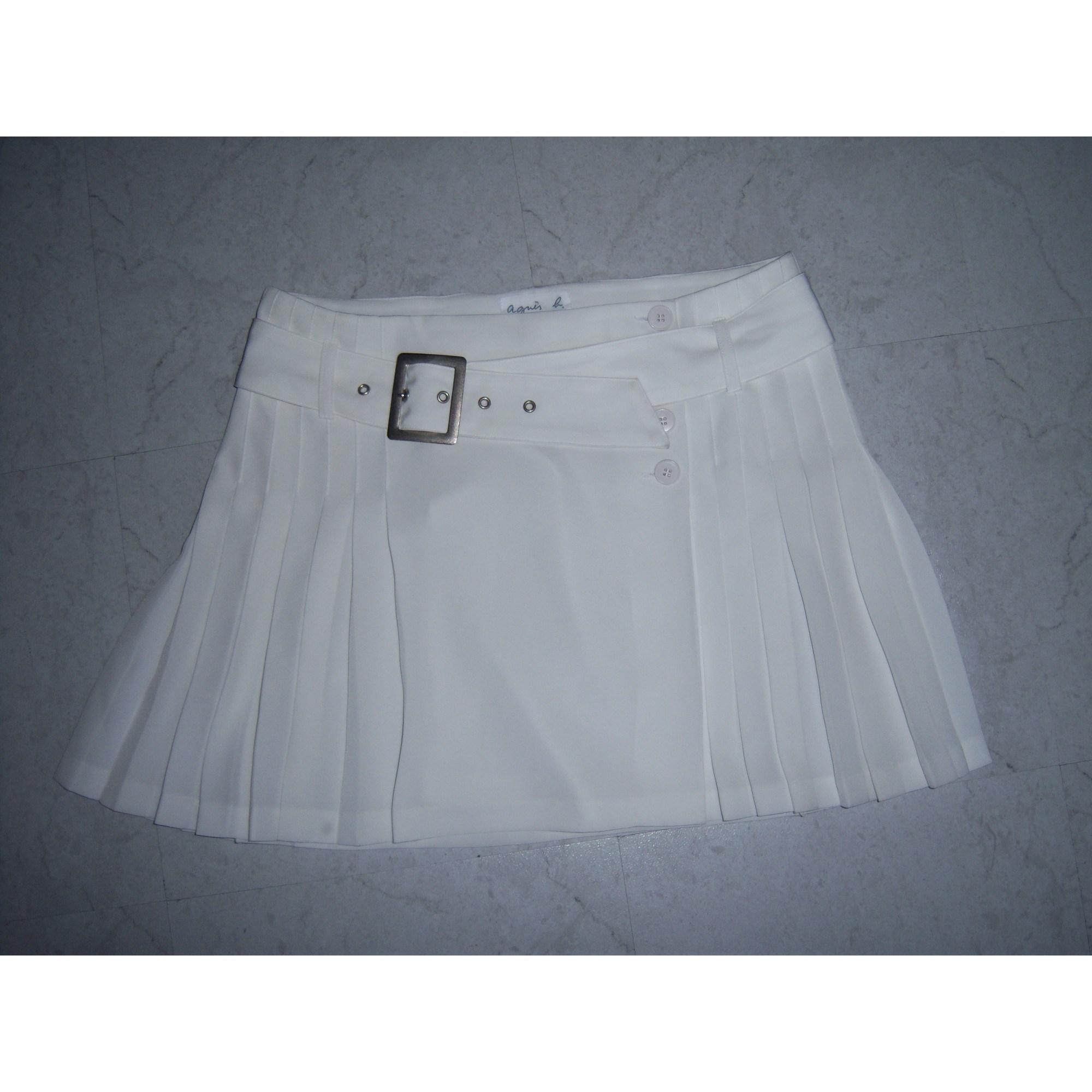 Jupe courte AGNÈS B. Blanc, blanc cassé, écru
