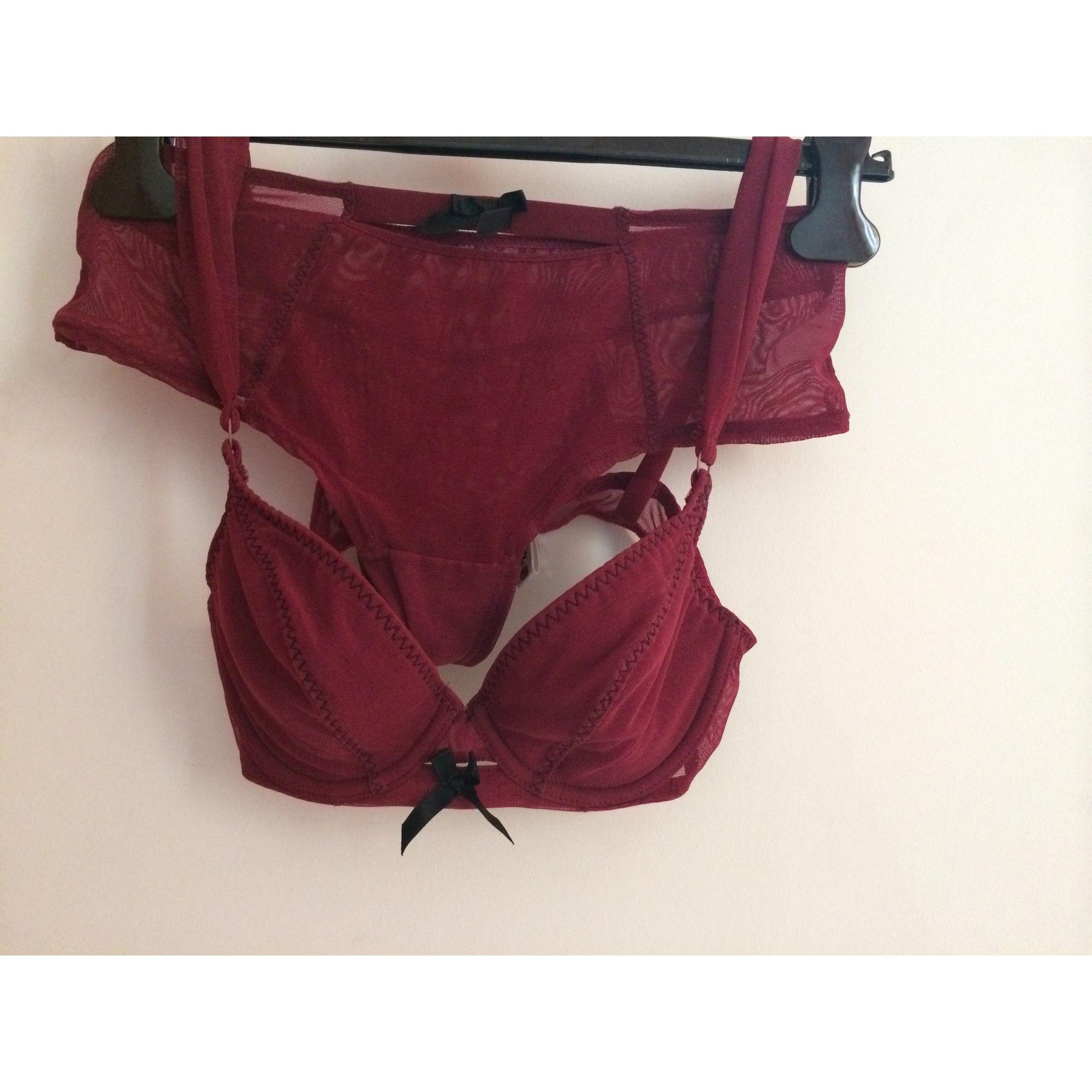 Ensemble, parure lingerie CANNELLE Rouge, bordeaux