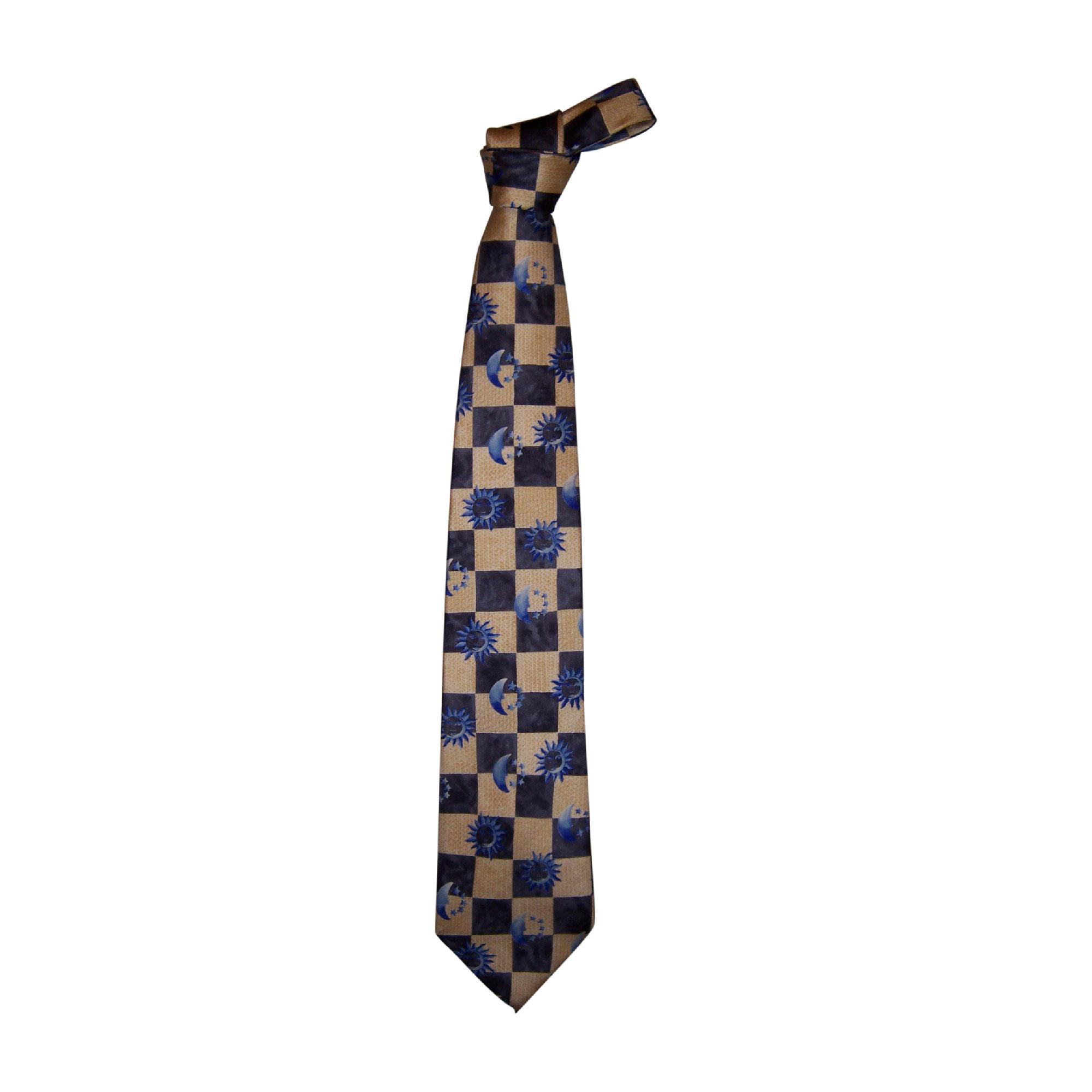 Cravate KARL LAGERFELD gris, ocre, bleu