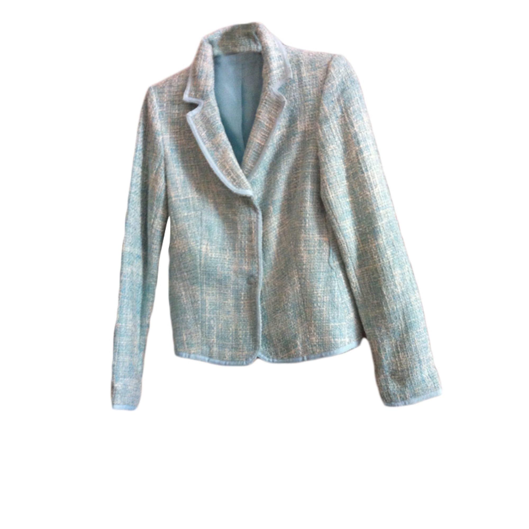 Blazer, veste tailleur MARQUE INCONNUE Blanc et bleu turquoise