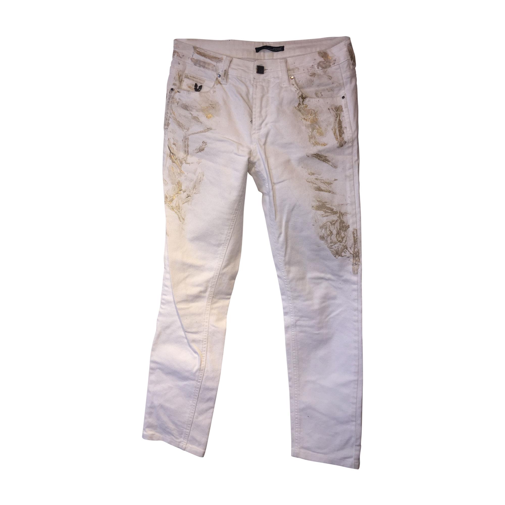 Jeans droit GIANFRANCO FERRE Blanc, blanc cassé, écru