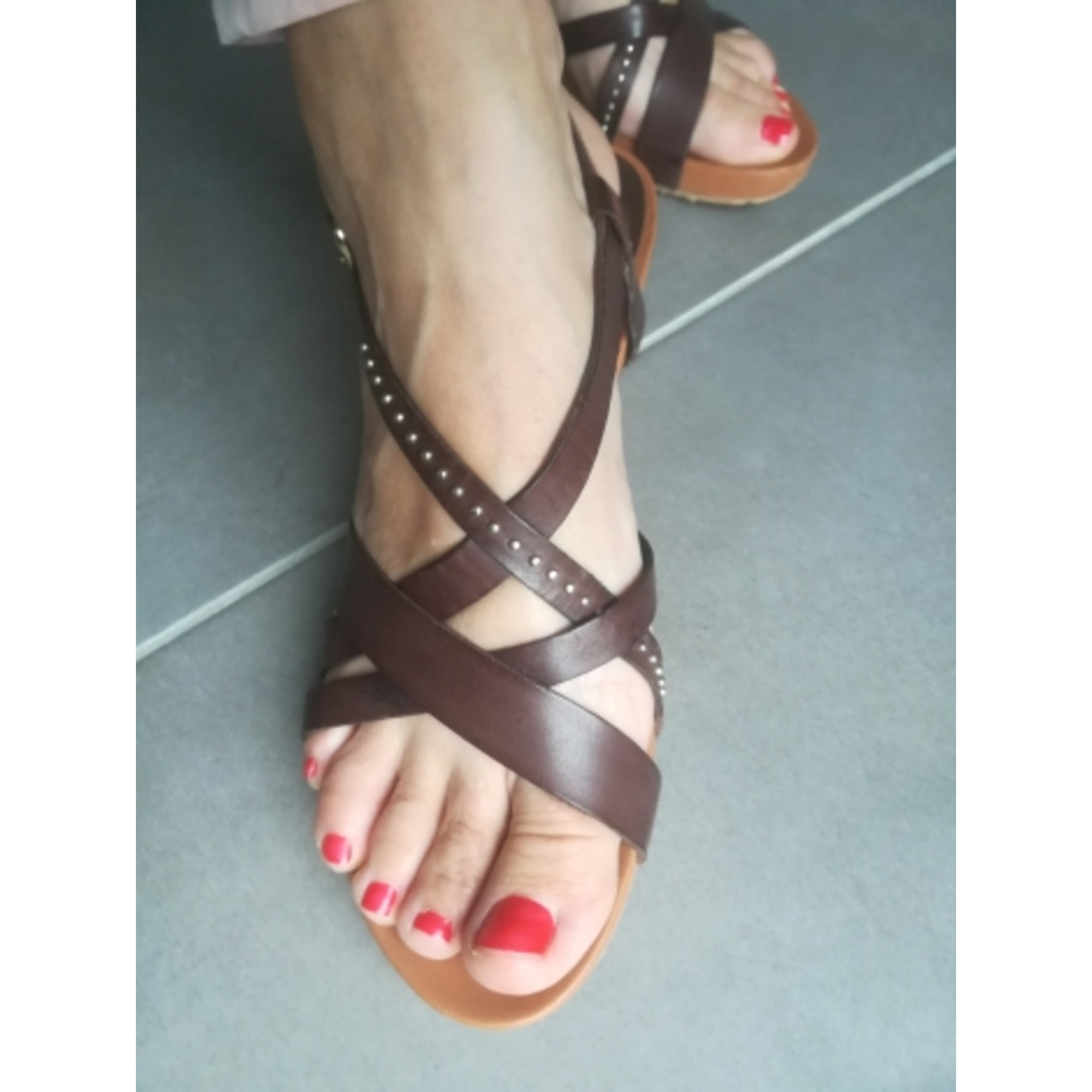 Sandales compensées BPRIVATE Marron