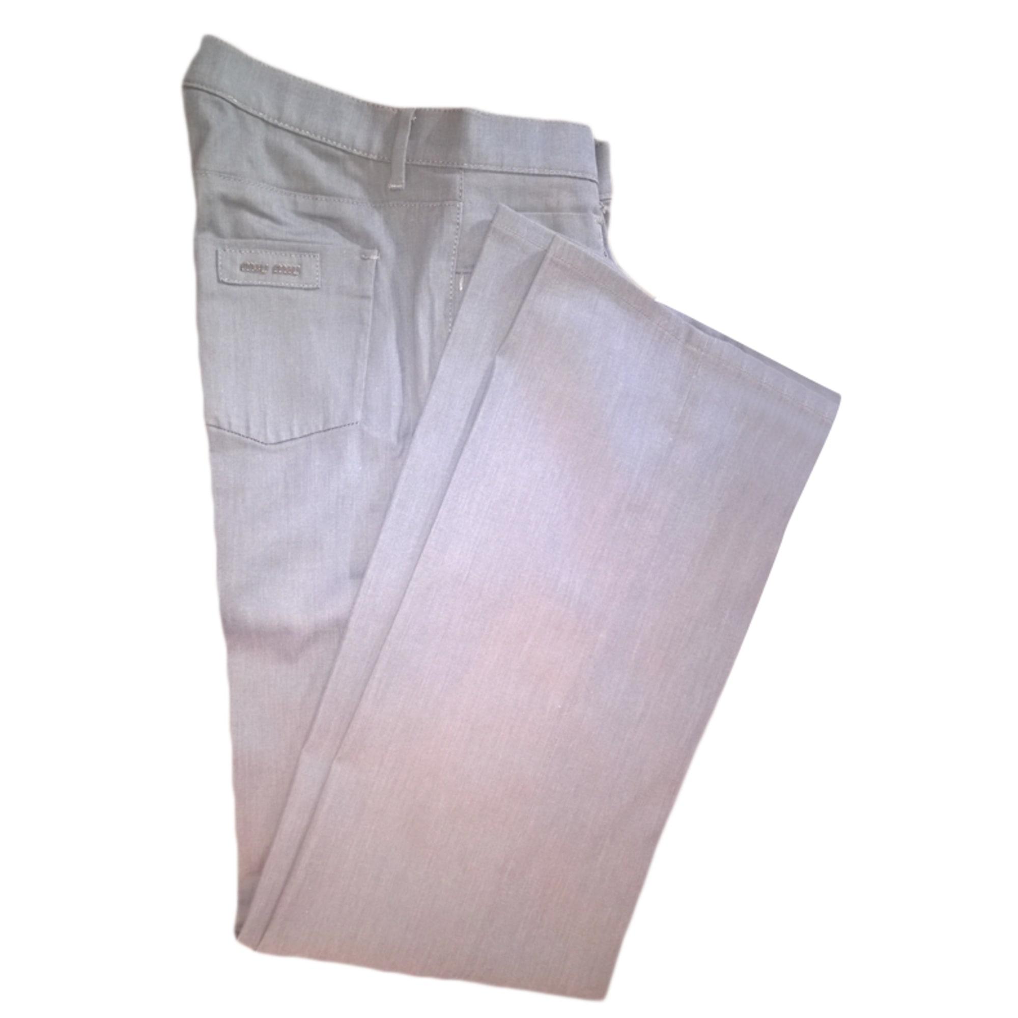 Pantalon droit MIU MIU Gris, anthracite