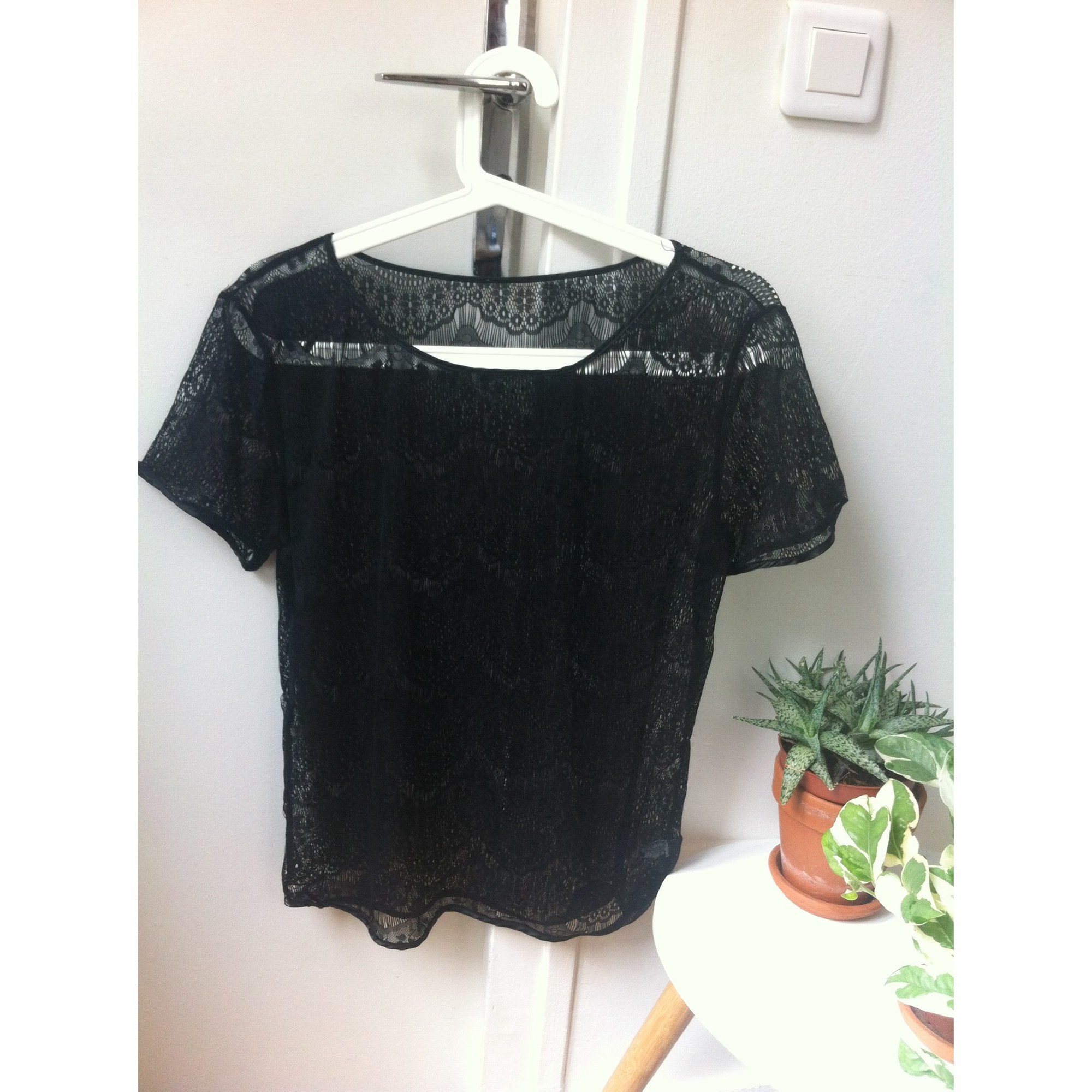 Top, tee-shirt AMERICAN APPAREL Noir