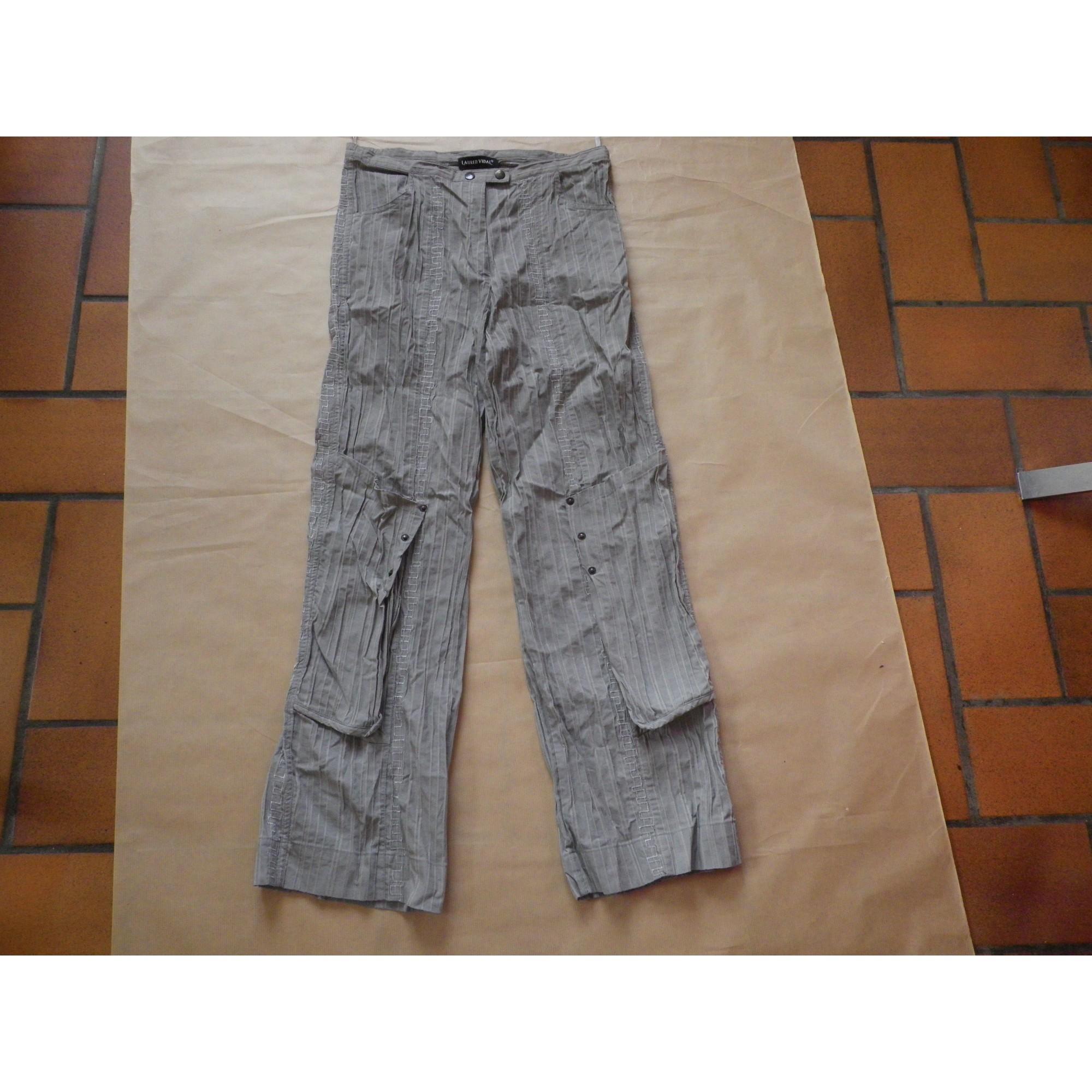 Pantalon large LAUREN VIDAL Gris, anthracite