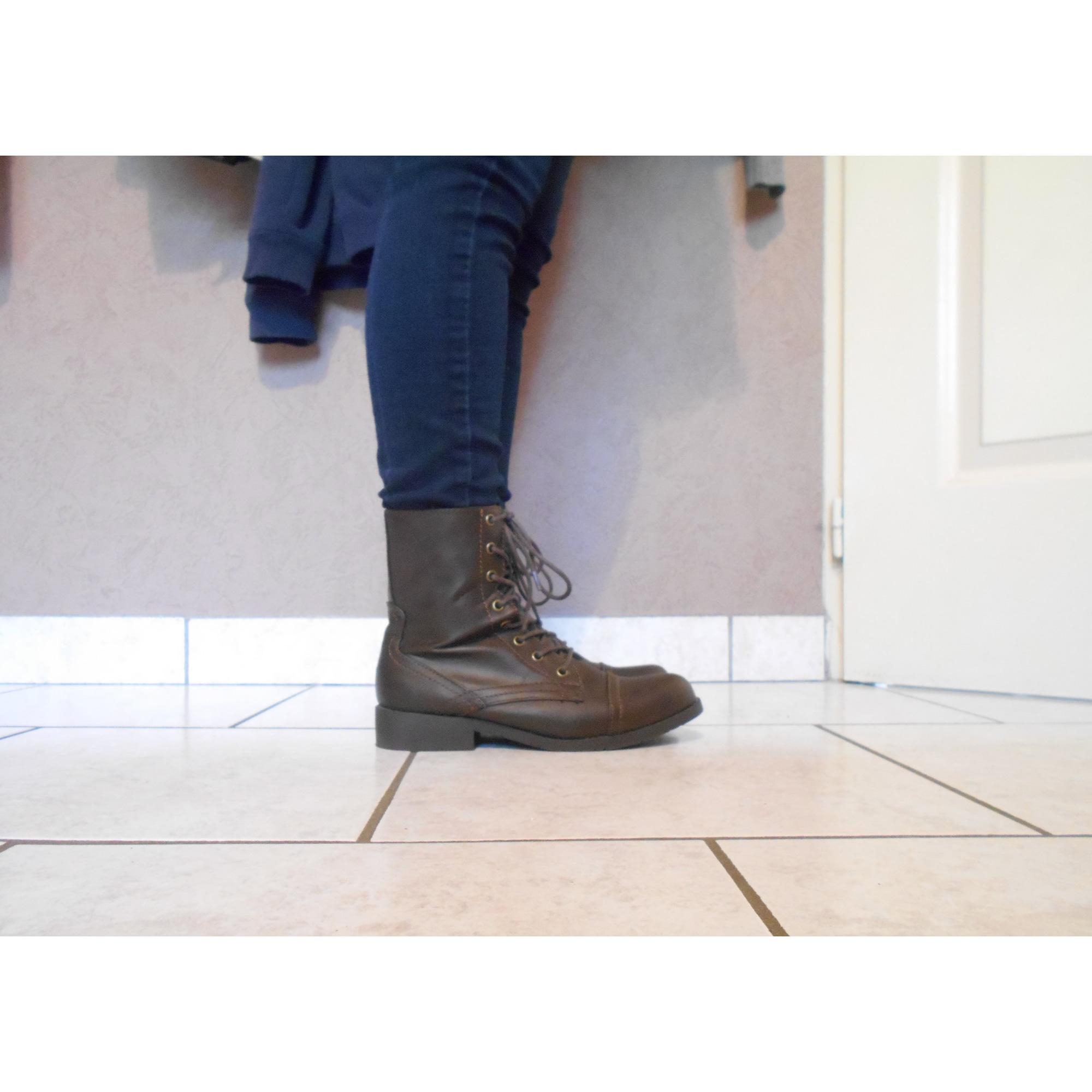 Bottines & low boots plates LA REDOUTE Marron
