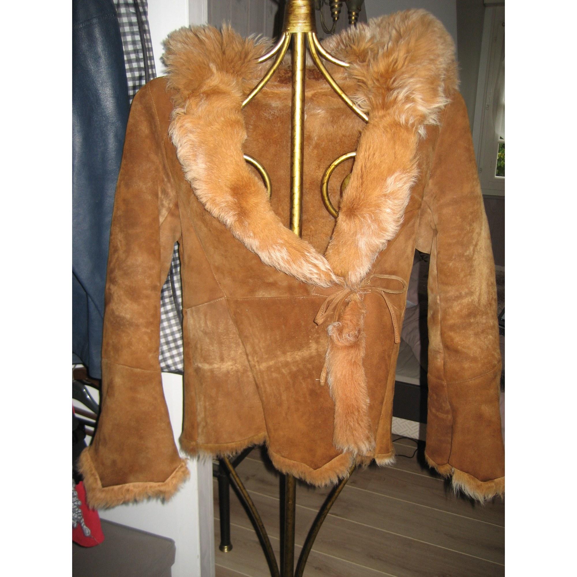Blouson, veste en fourrure AU RENARD Doré, bronze, cuivre