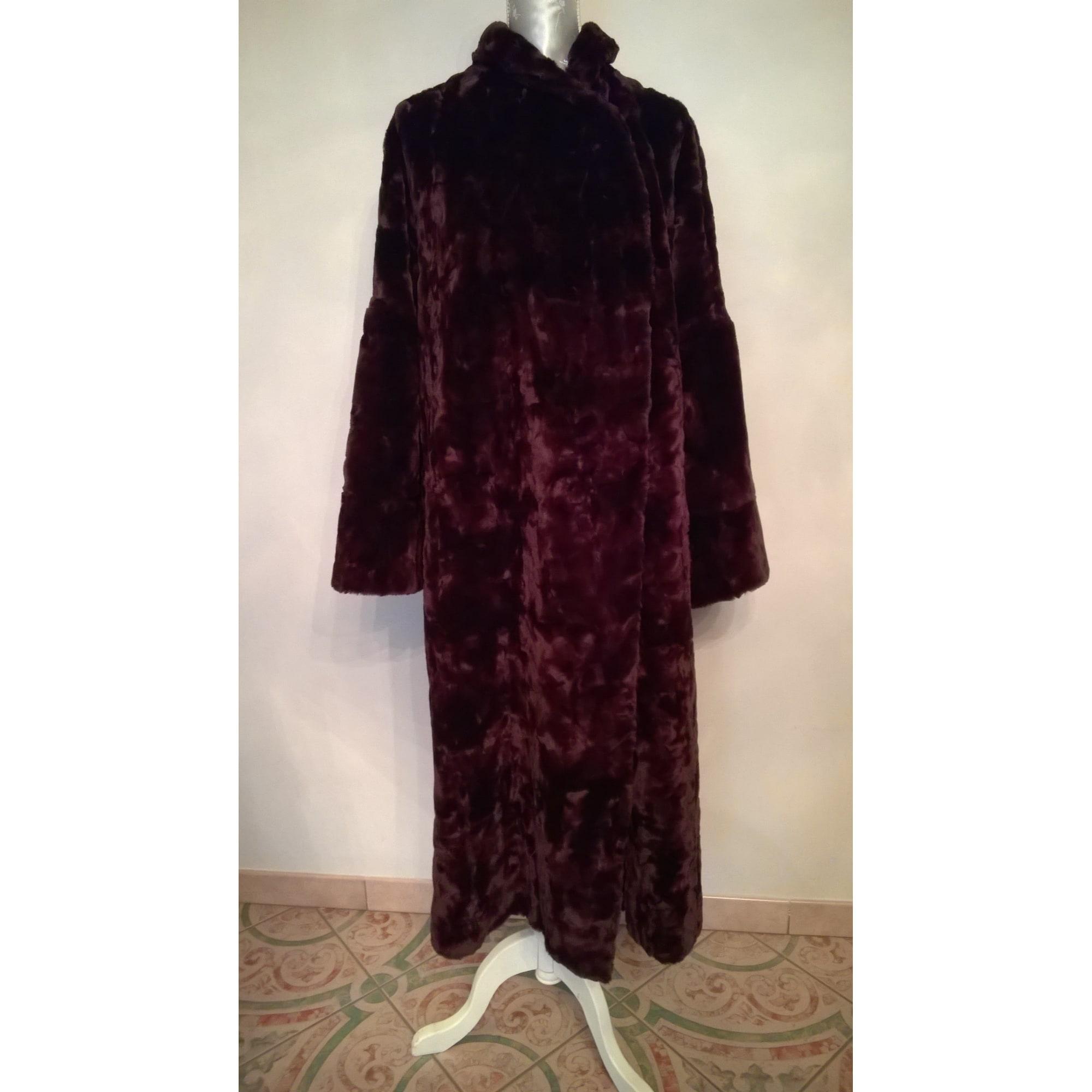 Manteau en fourrure NICOLE CADINE Rouge, bordeaux