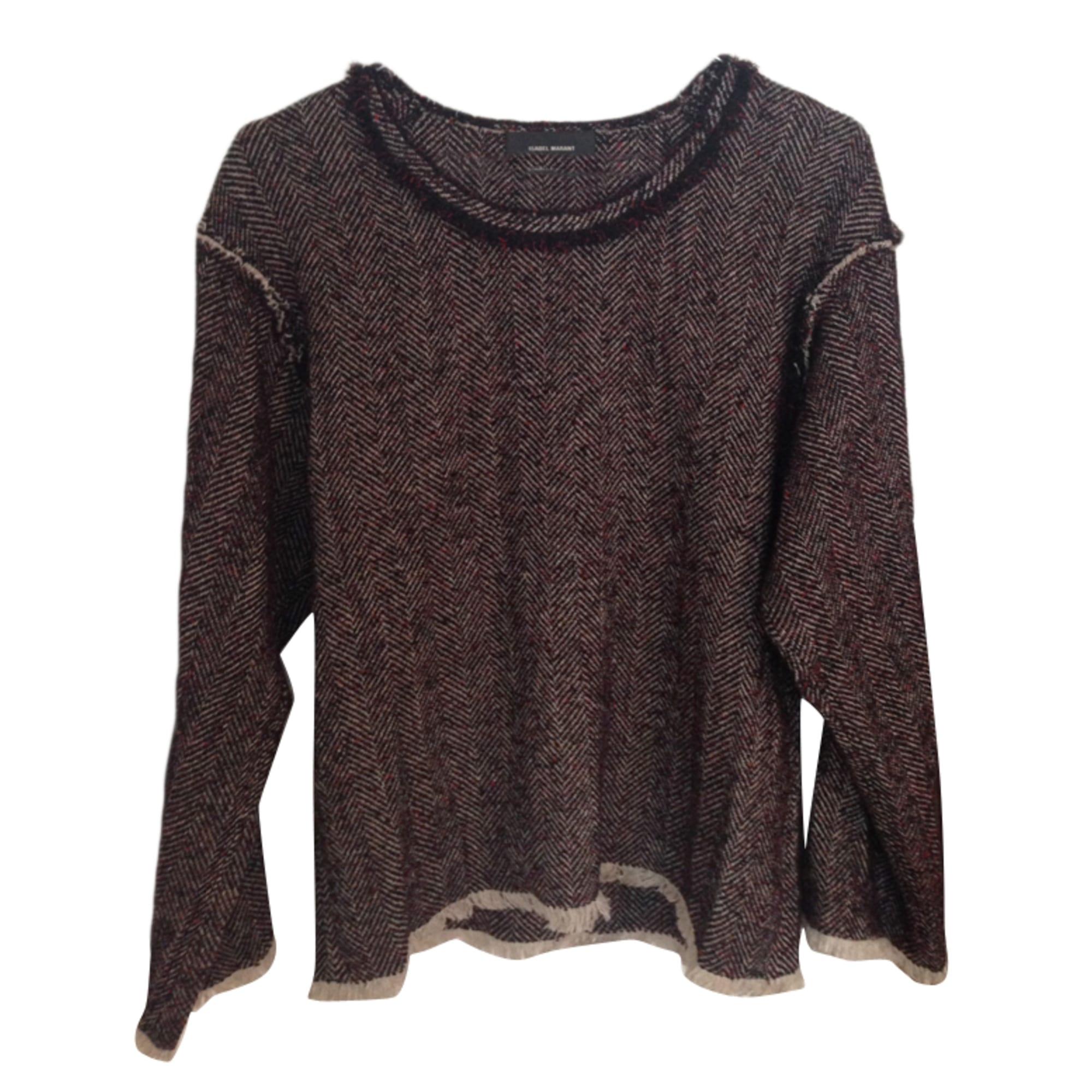 Top, tee-shirt ISABEL MARANT Chiné rouge, noir, écru.