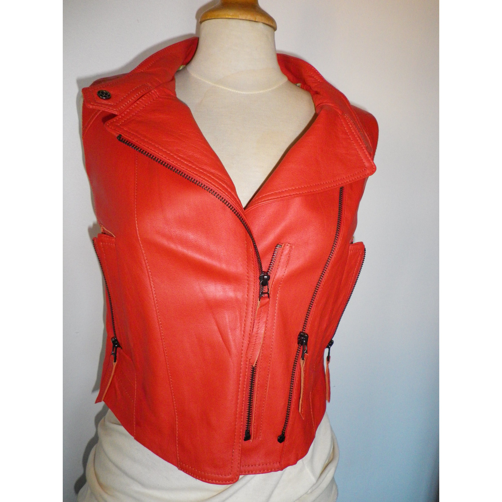Veste en cuir TRS Orange