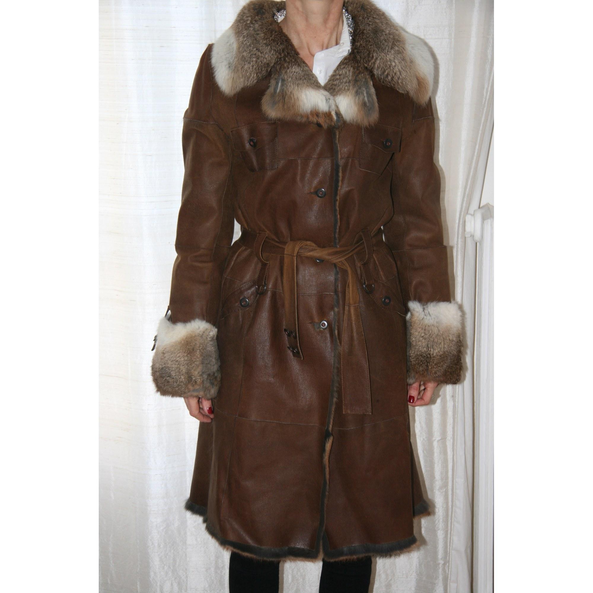 Manteau en cuir BISCOTE Marron