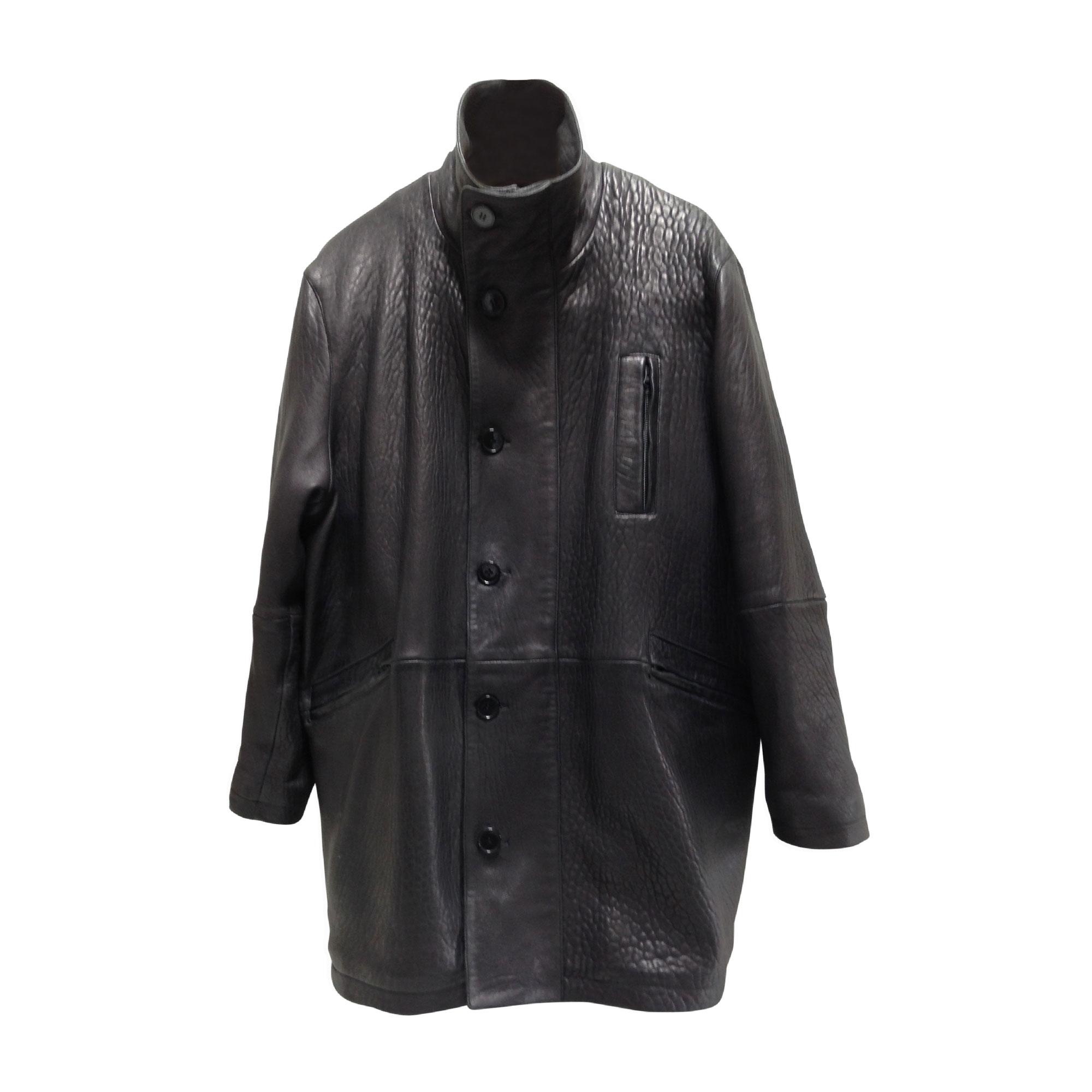 Manteau en cuir MAC DOUGLAS Gris, anthracite