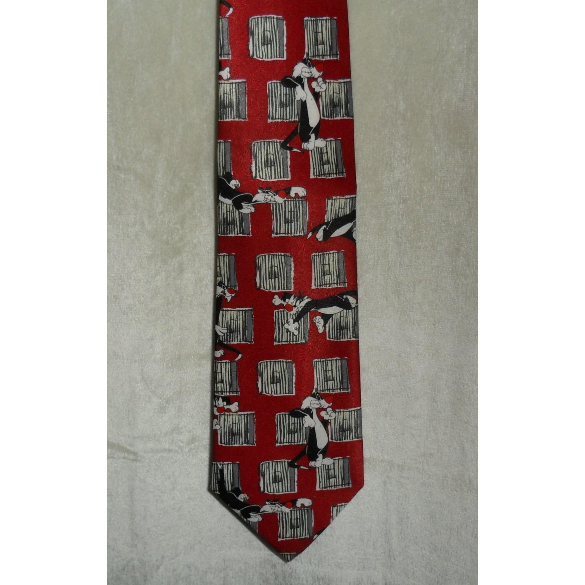 Cravate LOONEY TUNES fond rouge foncé