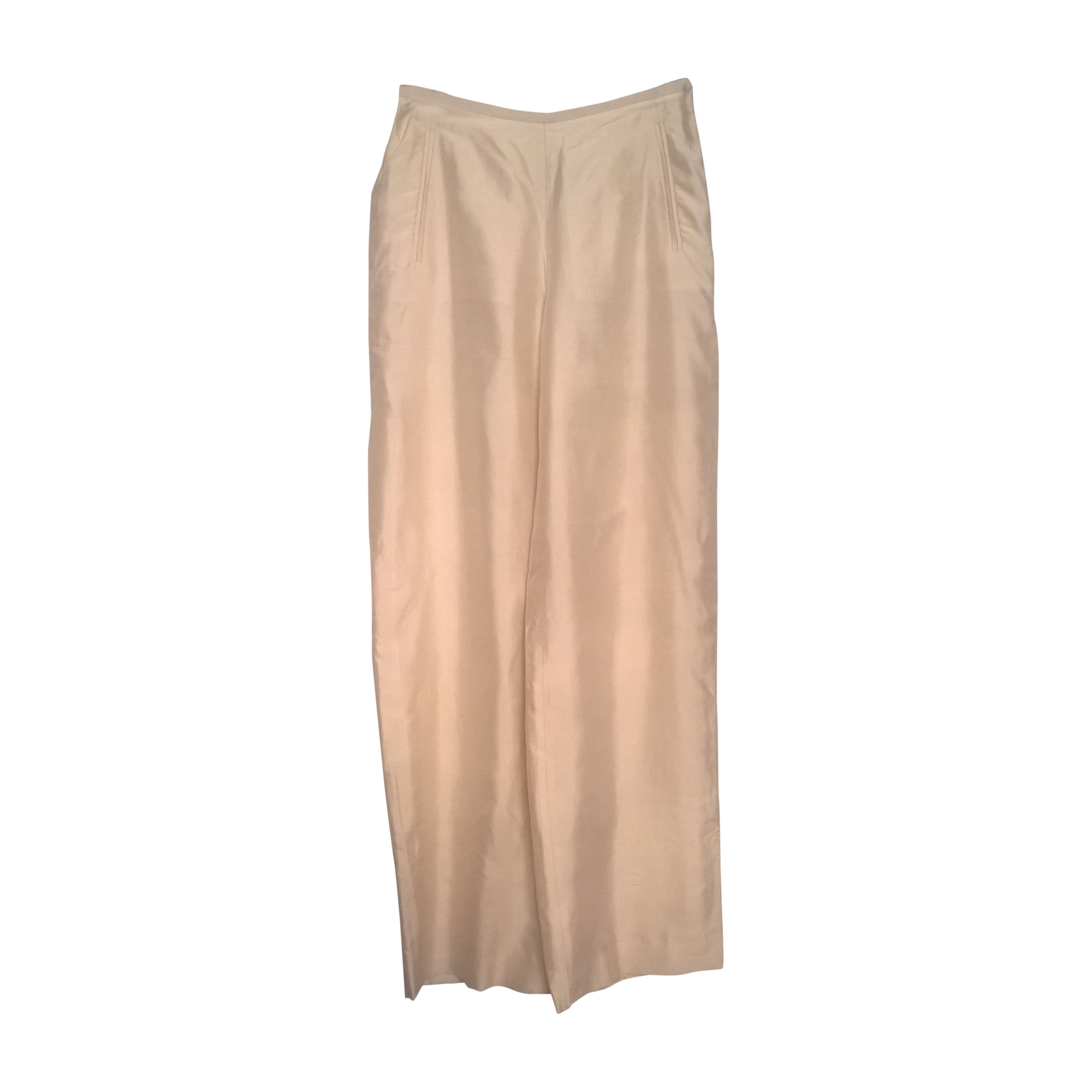 Pantalon droit GIORGIO ARMANI Blanc, blanc cassé, écru