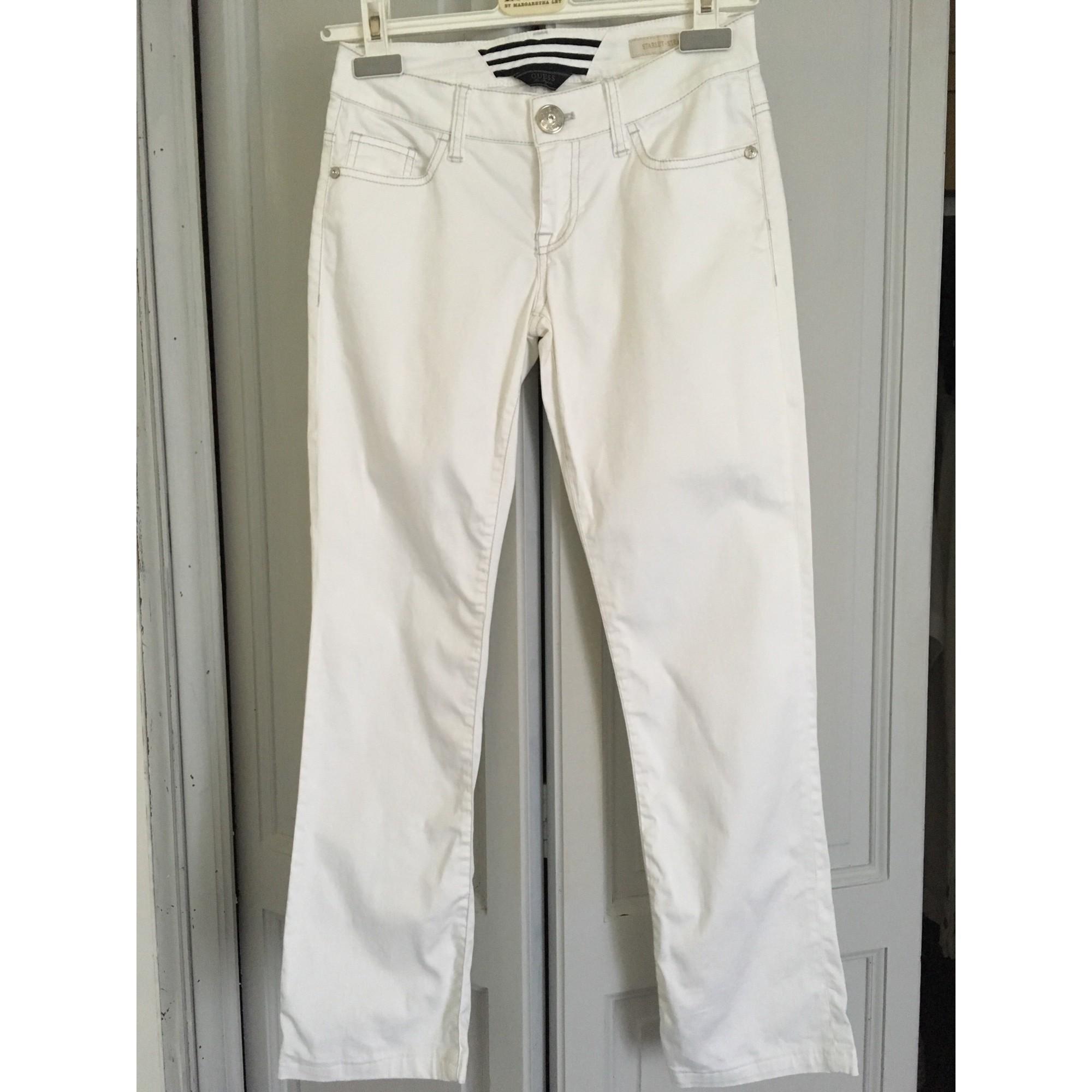 Jeans droit GUESS Blanc, blanc cassé, écru