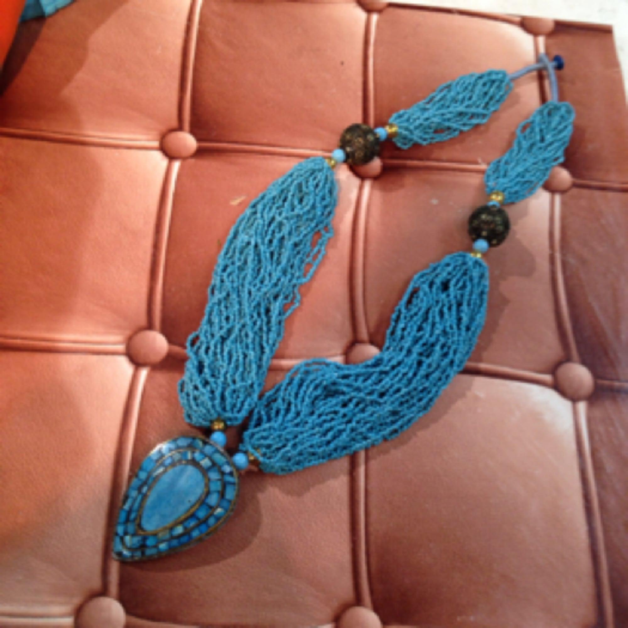 Sautoir MARQUE INCONNUE Bleu, bleu marine, bleu turquoise