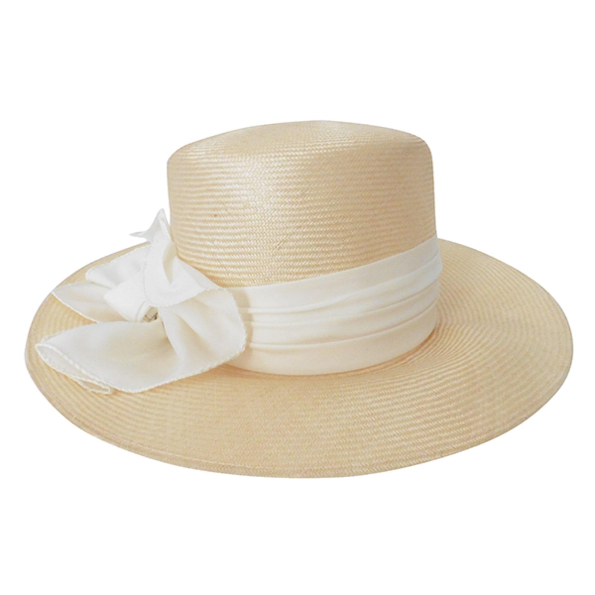 Chapeau KANGOL couleur paille avec noeud blanc