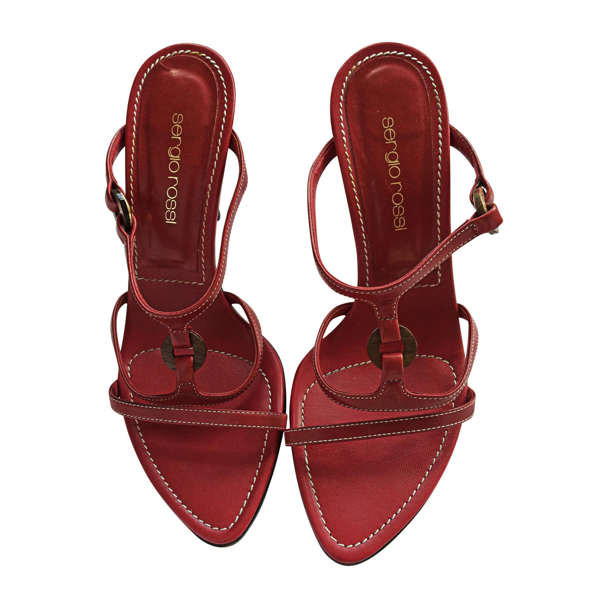 Sandales à talons SERGIO ROSSI Rouge, bordeaux