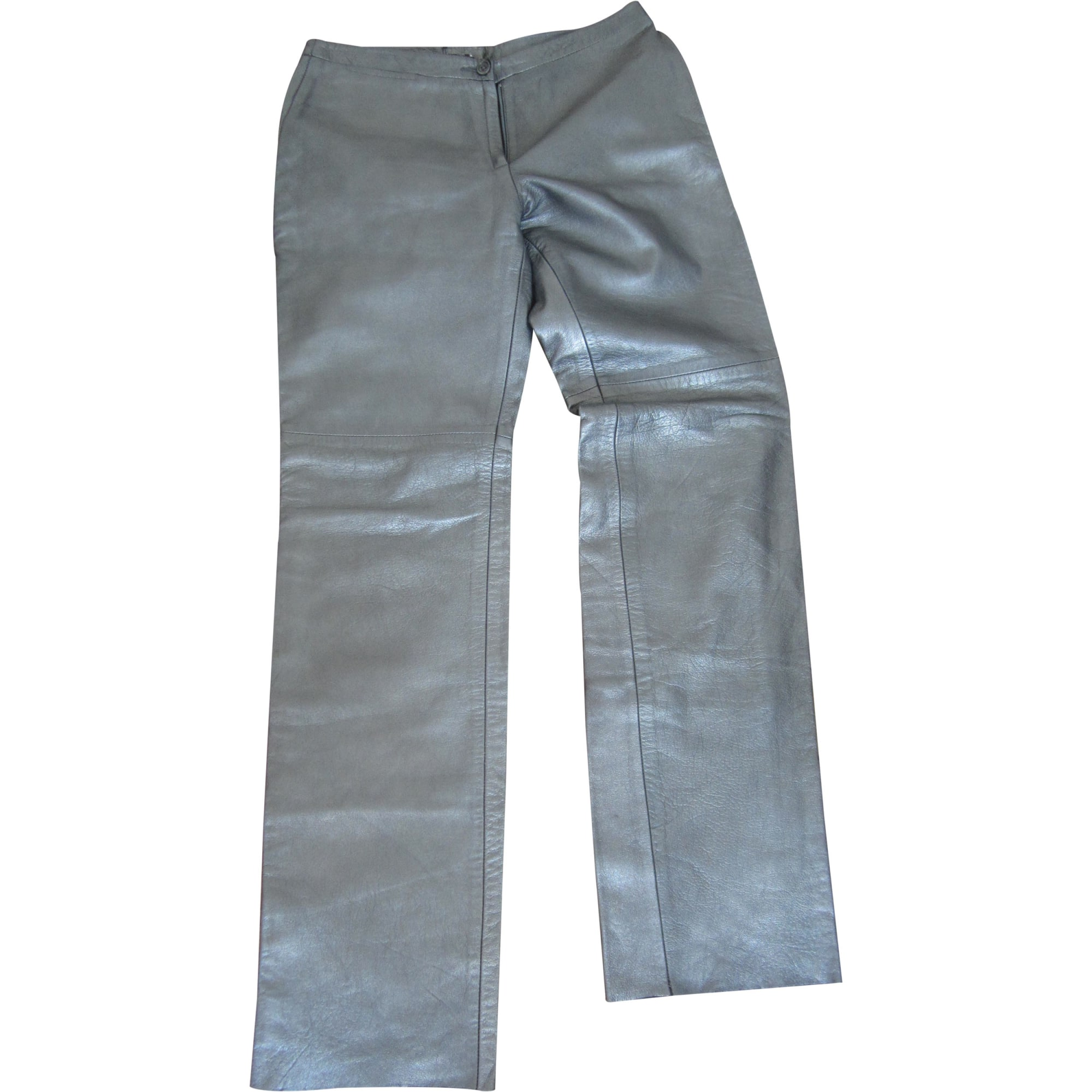 Pantalon droit BCBG MAX AZRIA Argenté, acier