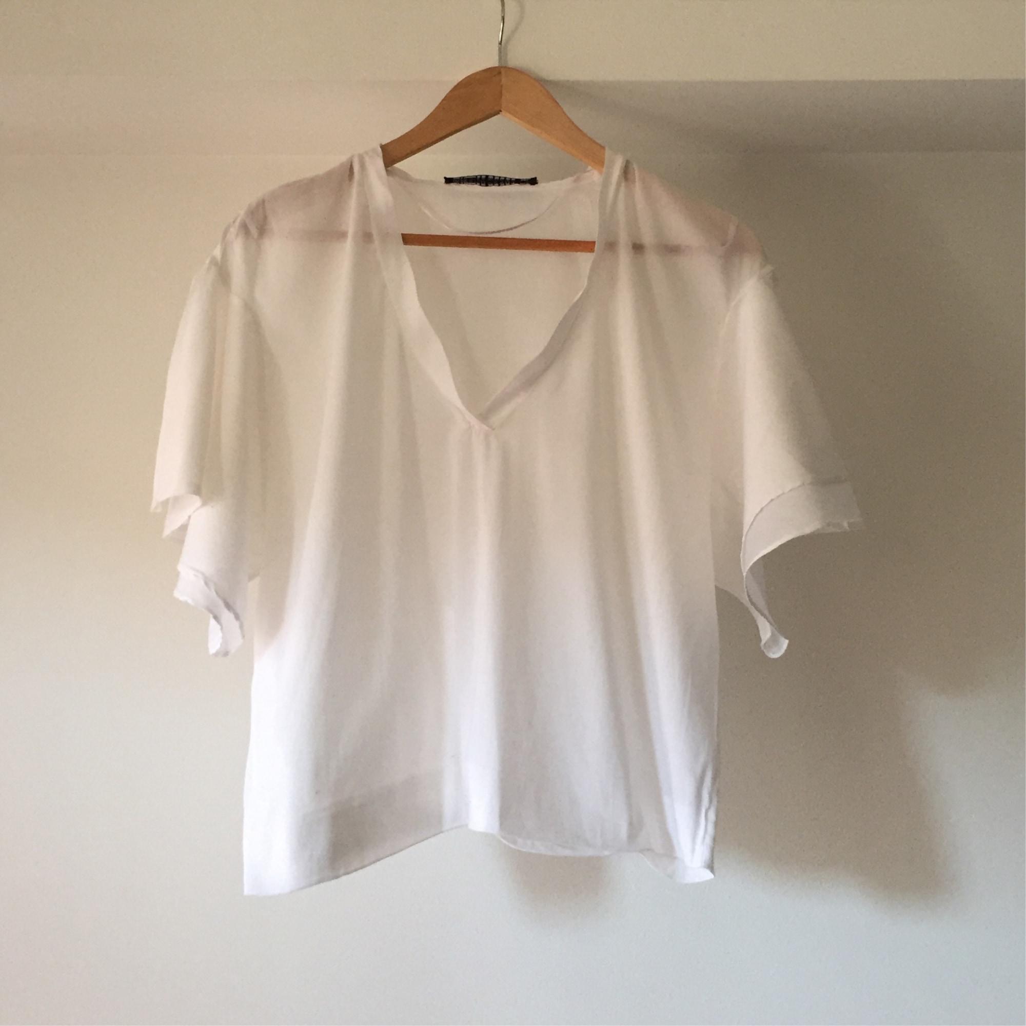 Blouse ZARA Blanc, blanc cassé, écru