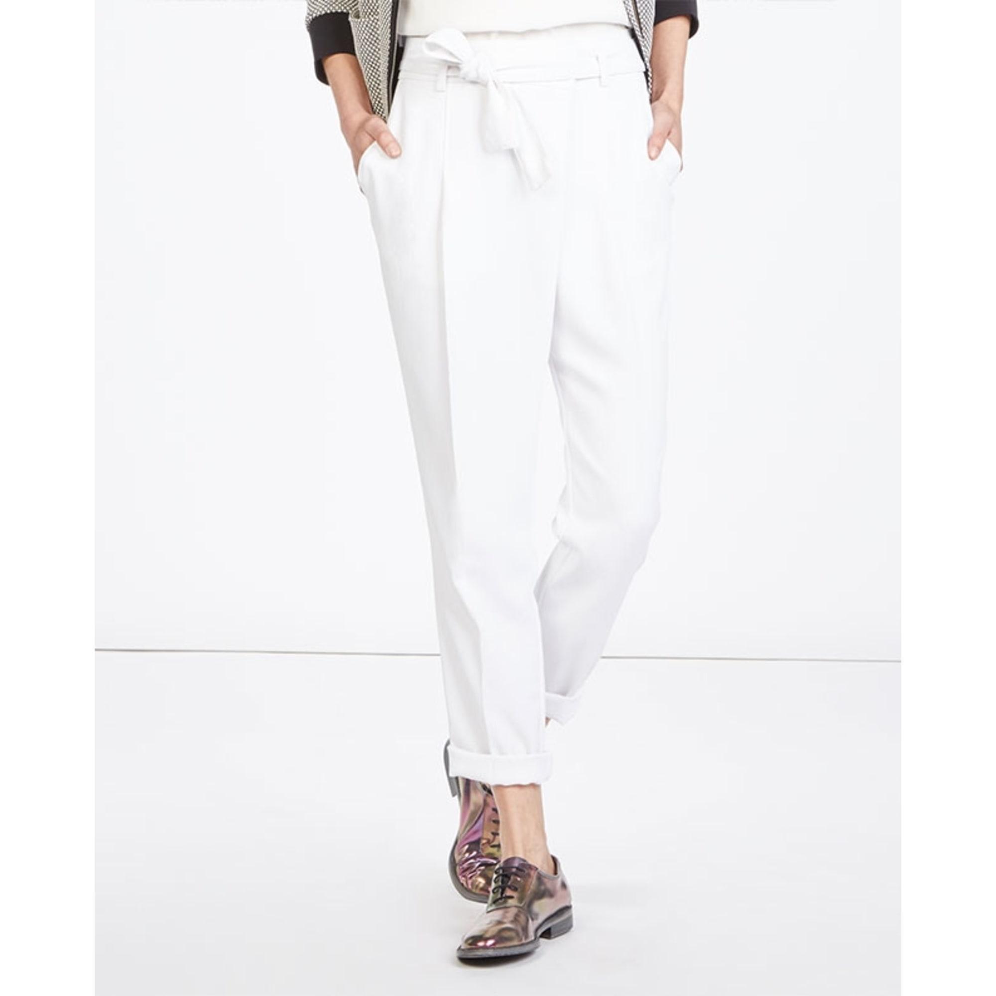 Pantalon carotte COMPTOIR DES COTONNIERS Blanc, blanc cassé, écru