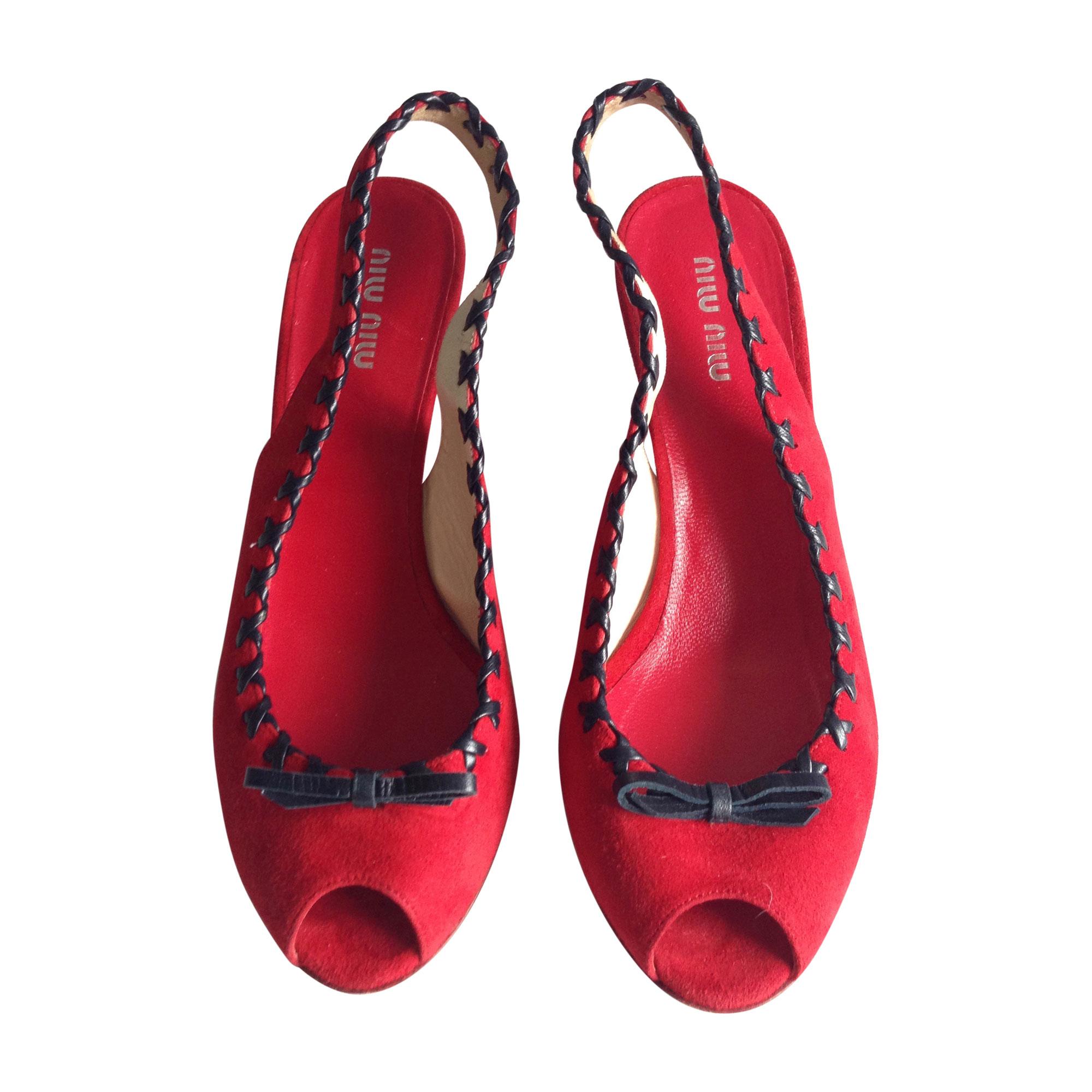 Sandales compensées MIU MIU Rouge, bordeaux