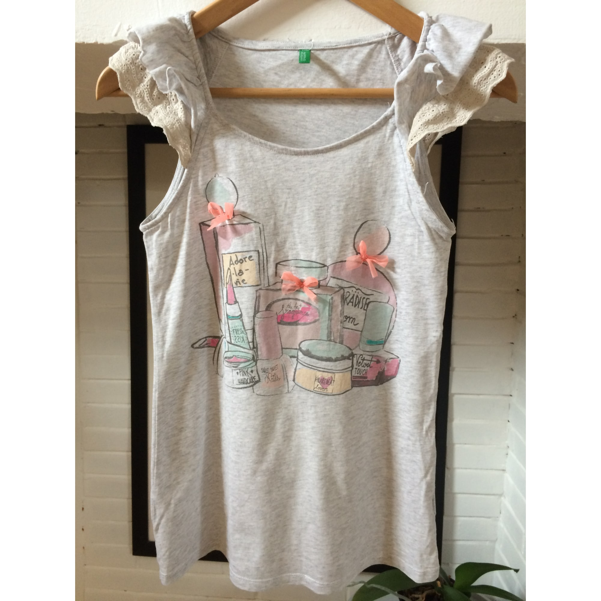 Top, Tee-shirt UNITED COLORS OF BENETTON Gris, anthracite