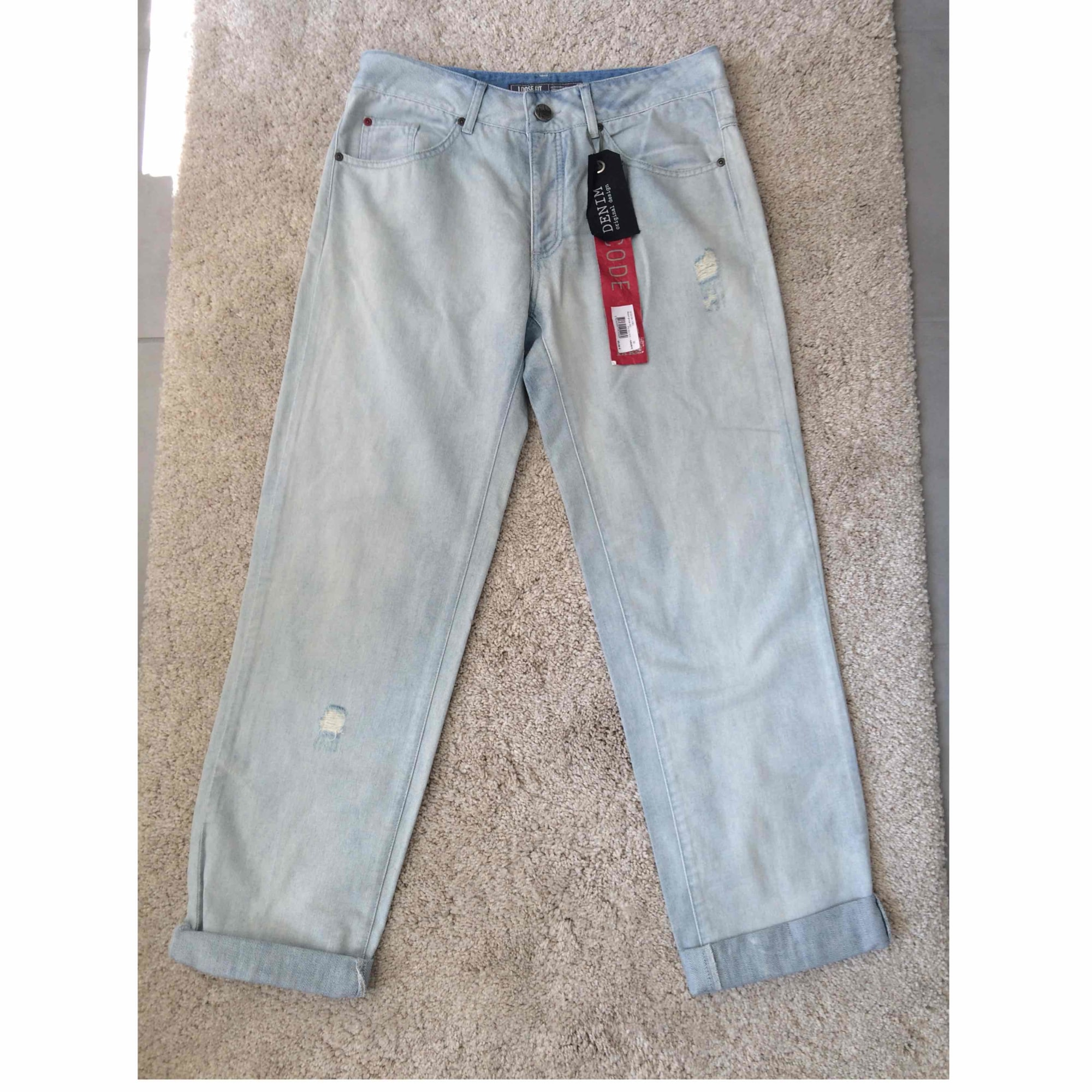 Jeans large, boyfriend IKKS Bleu, bleu marine, bleu turquoise