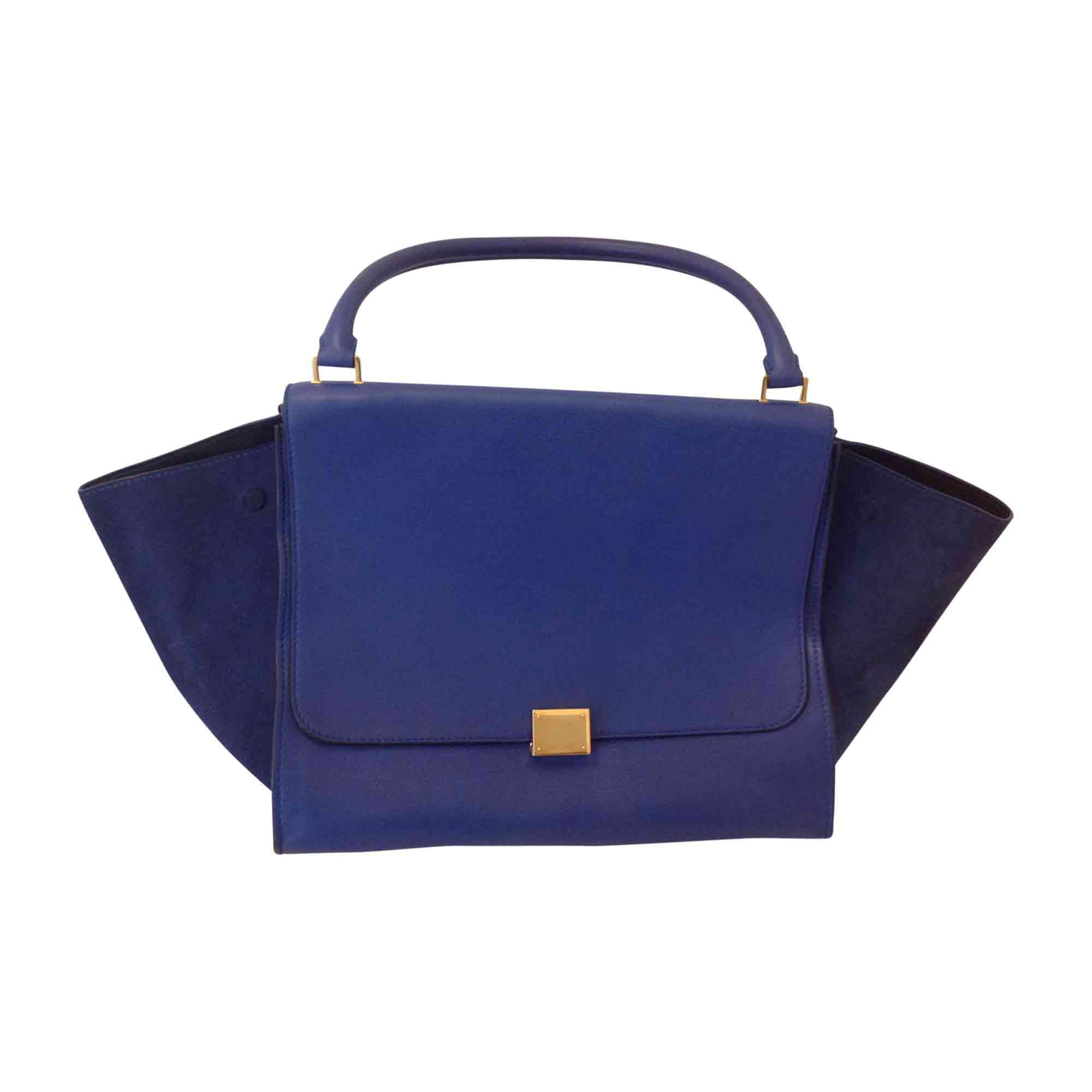 Sac XL en cuir CÉLINE Trapèze Bleu, bleu marine, bleu turquoise