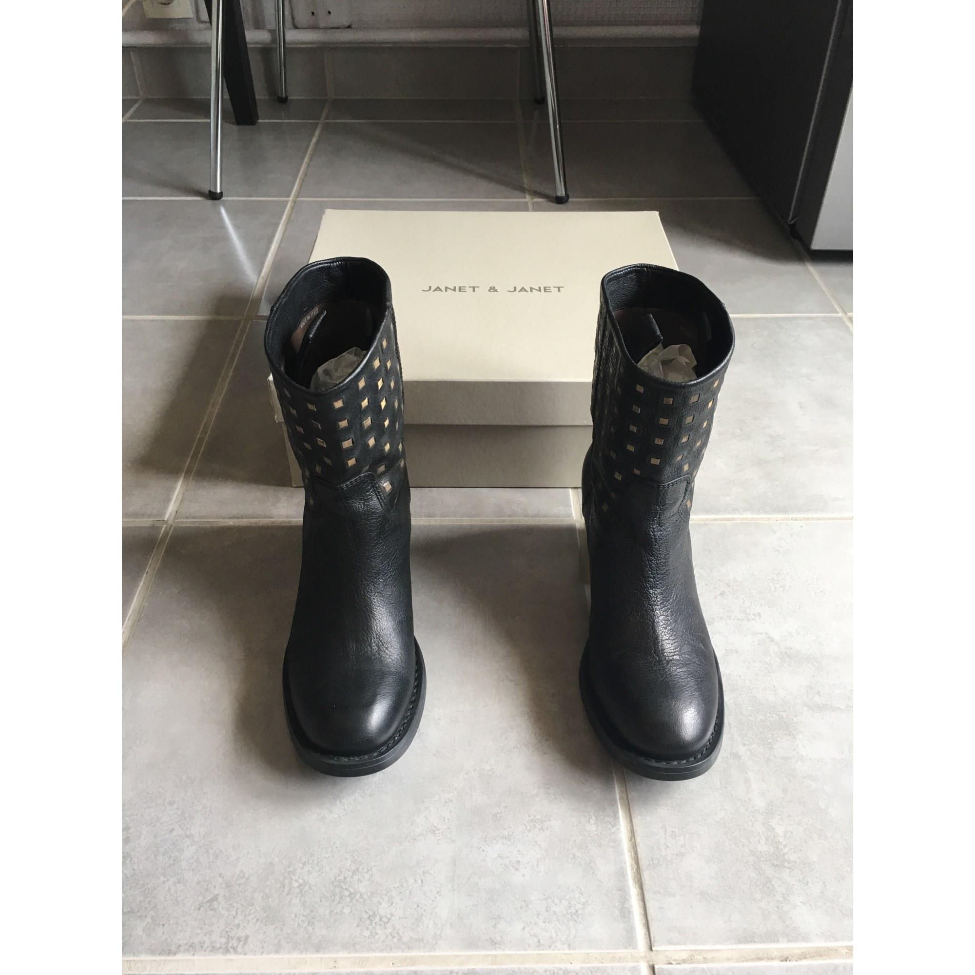 Santiags, bottines, low boots cowboy JANET&JANET Noir