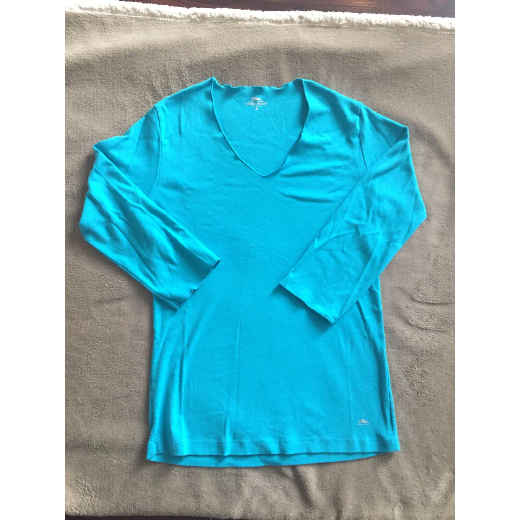 Top, tee-shirt LONGCHAMP Bleu, bleu marine, bleu turquoise