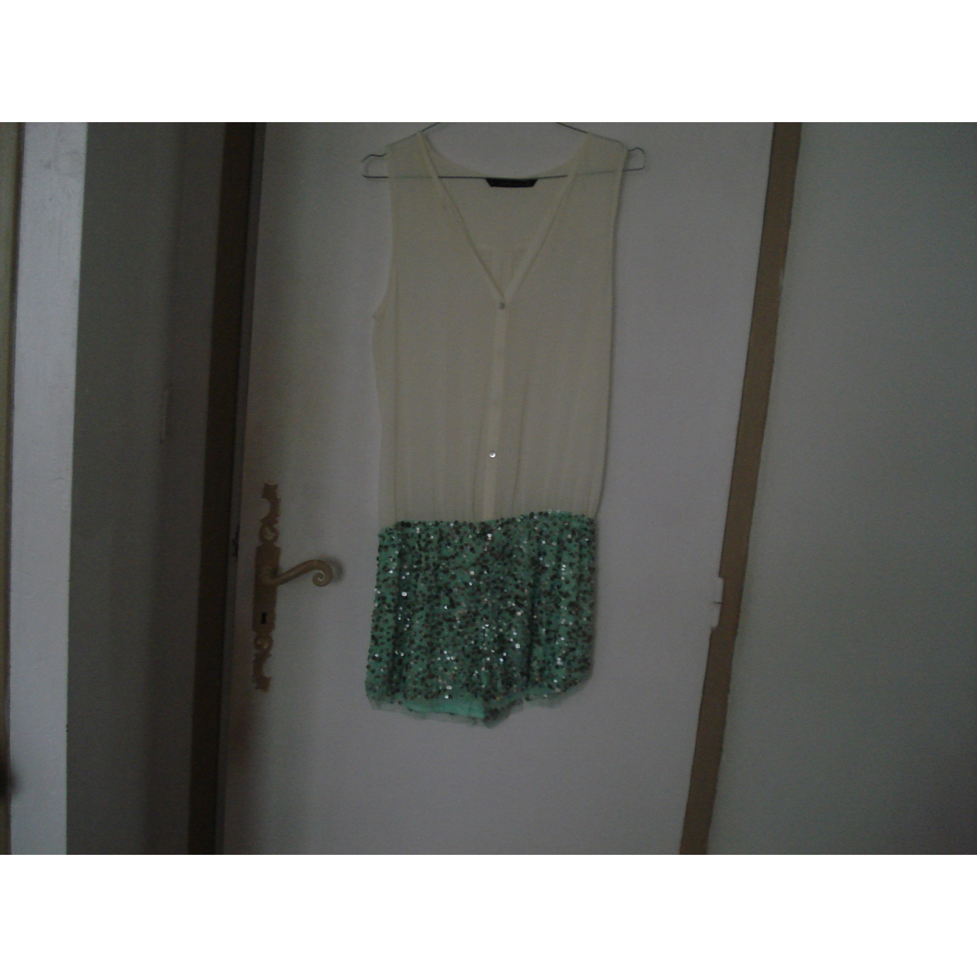 Combishort ZARA Blanc cassé et vert