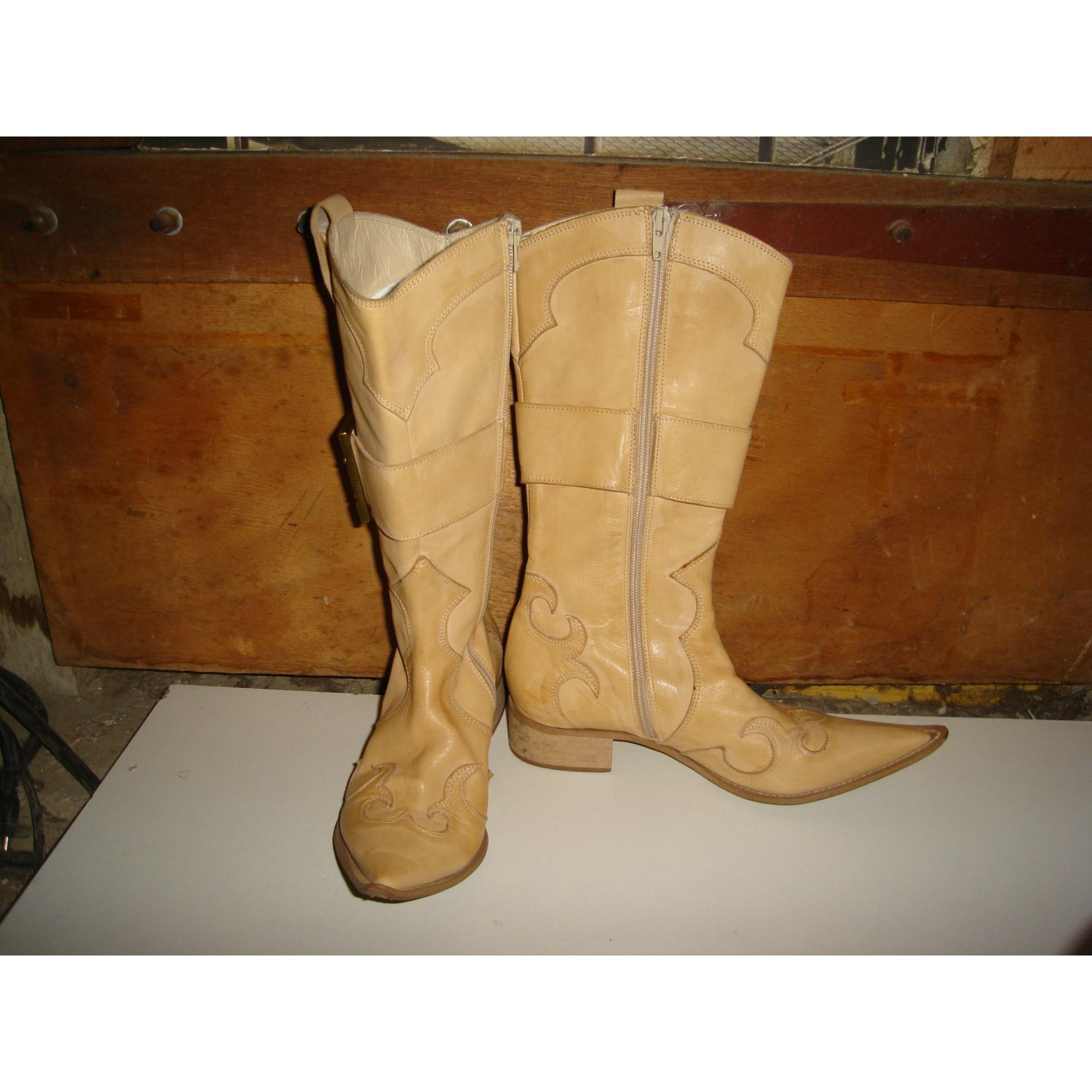 Santiags, bottes cowboy MINELLI Beige, camel