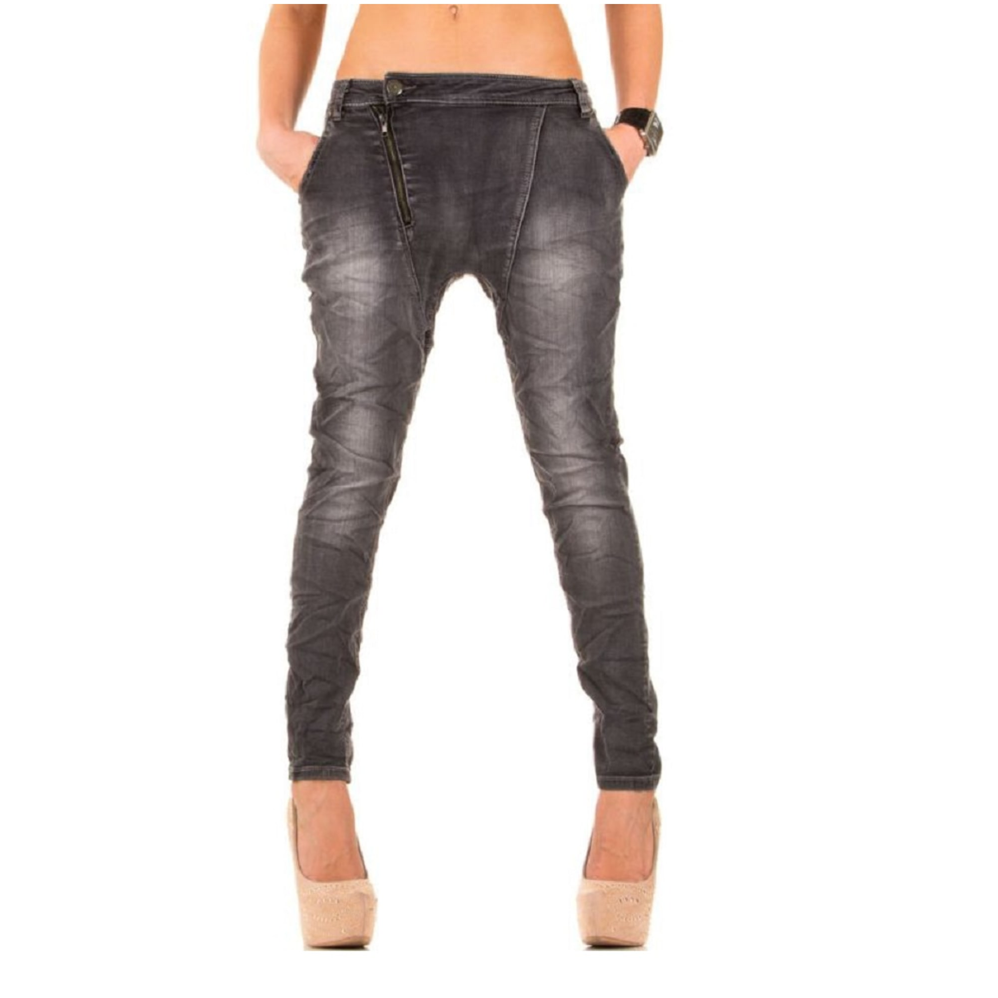 Jeans large, boyfriend SIMPLY CHIC Gris, anthracite
