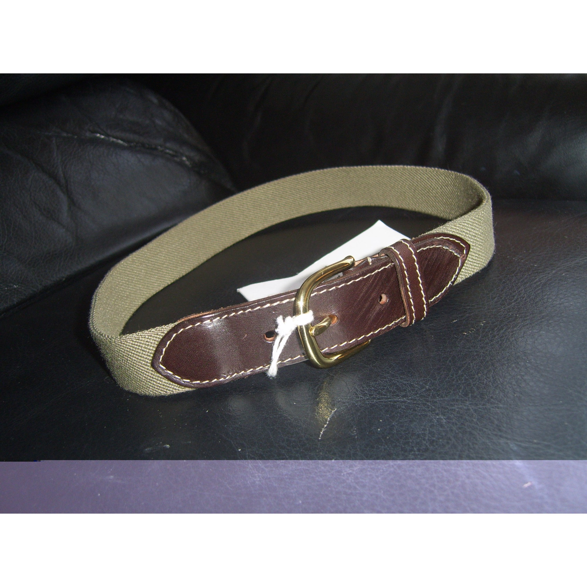 Belt SCAPA kaki et cuir marron